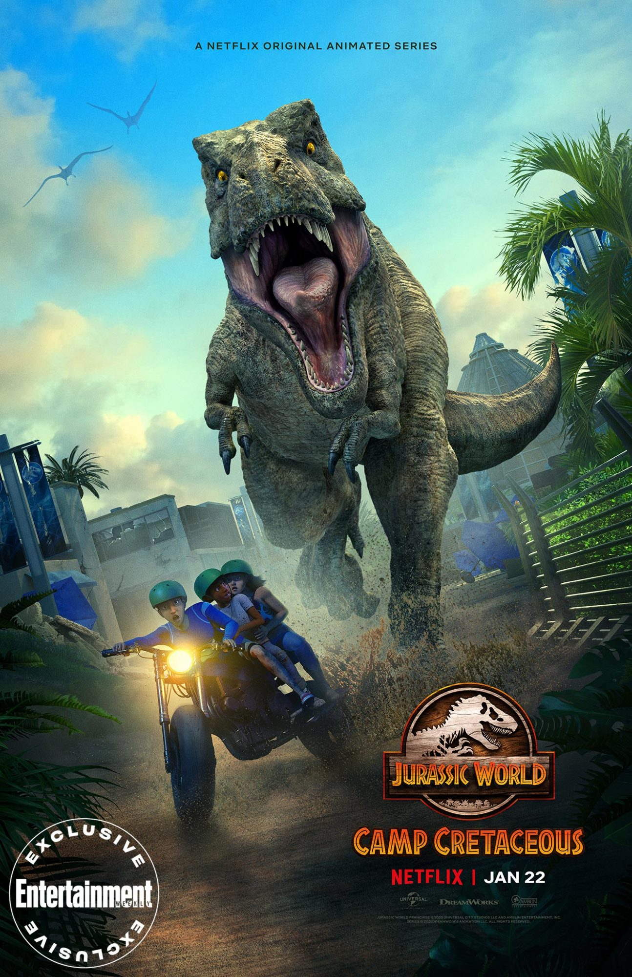 Jurassic World Camp Cretaceous Season 2 Trailer Sets January Premiere Ew Com Jurassic world camp cretaceous is an american animated science fiction adventure streaming television series. jurassic world camp cretaceous season