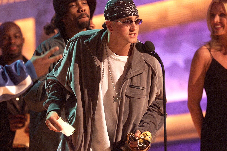 Eminem accepts for Best Rap Album at the 43rd Grammy Award Show