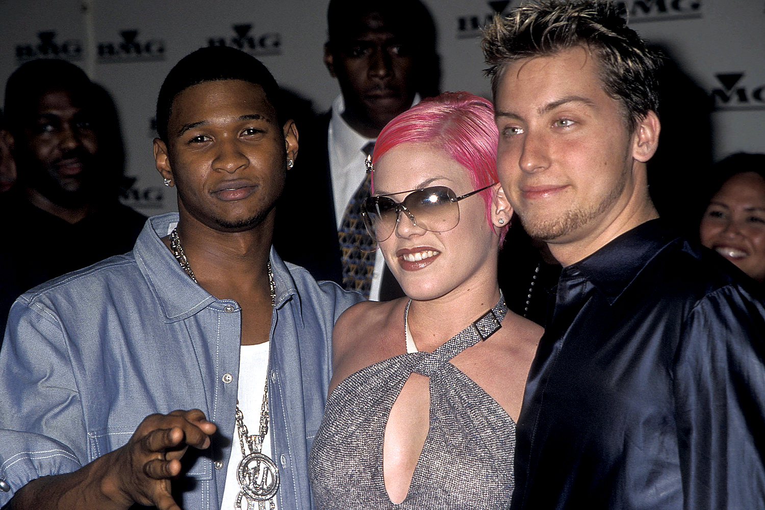 Usher, Pink and Lance Bass of NSYNC attend the 43rd Annual Grammy Awards