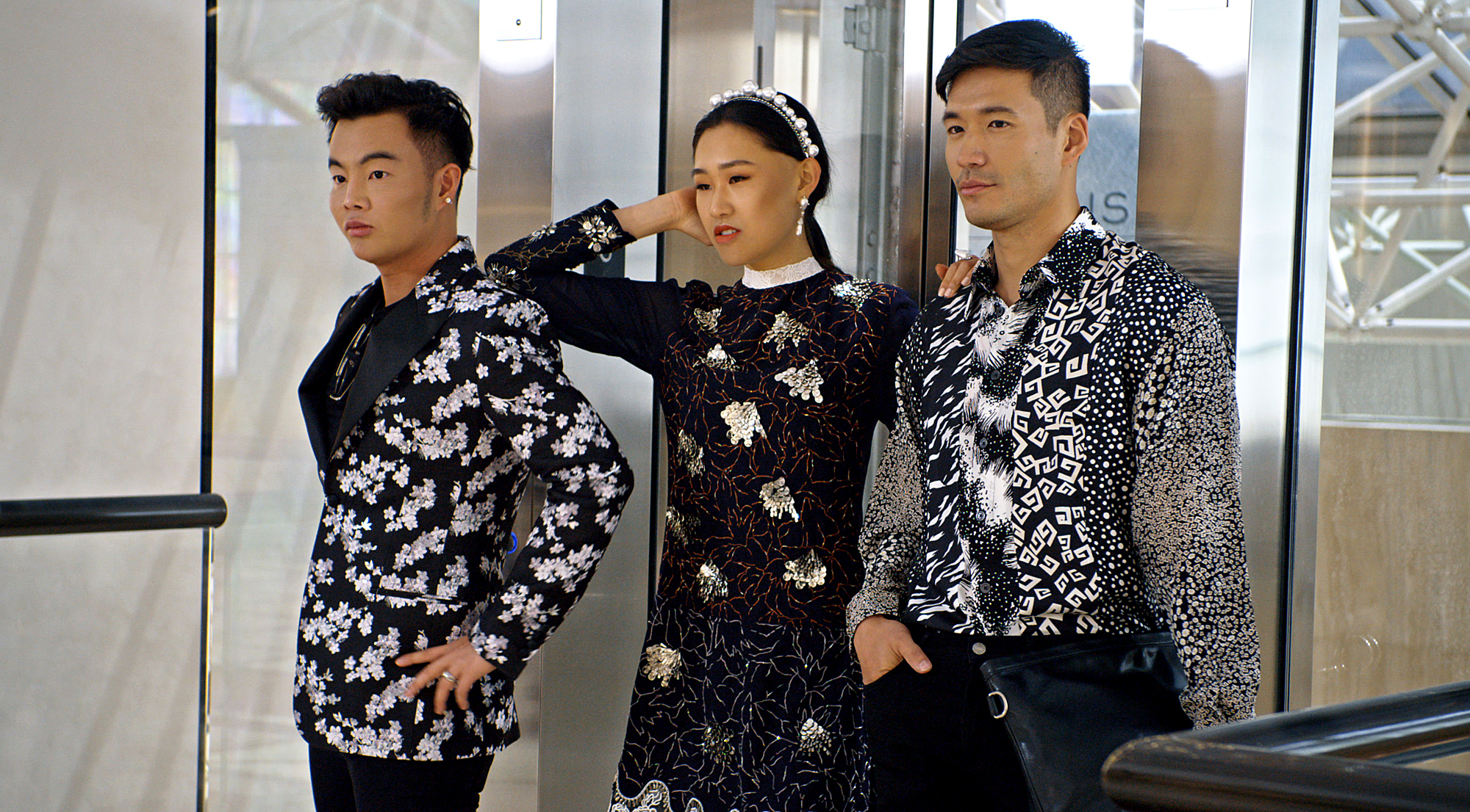 "Kane Lim, Jaime Xie and Kevin Kreider in episode 8 ""Will You Marry Me?"" of Bling Empire: Season 1"