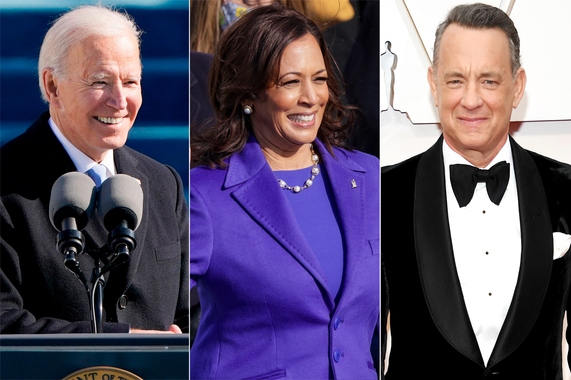Joe Biden, Kamala Harris, Tom Hanks