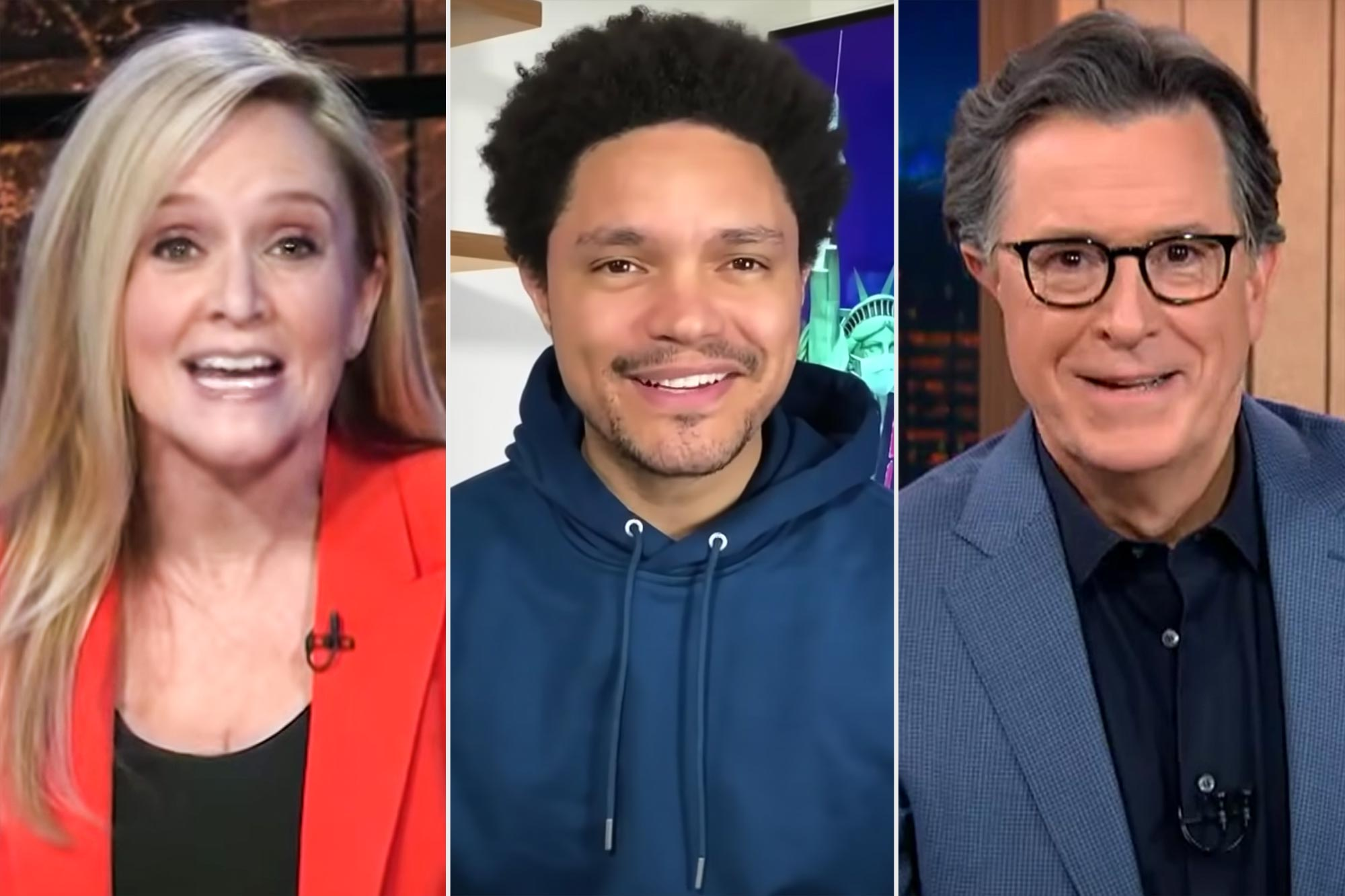 Samantha Bee, Trevor Noah, and Stephen Colbert