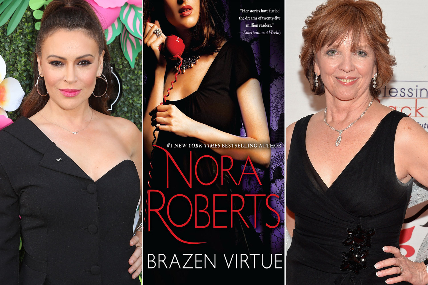 Alyssa Milano, the cover of Nora Roberts' Brazen Virtue, and Nora Roberts