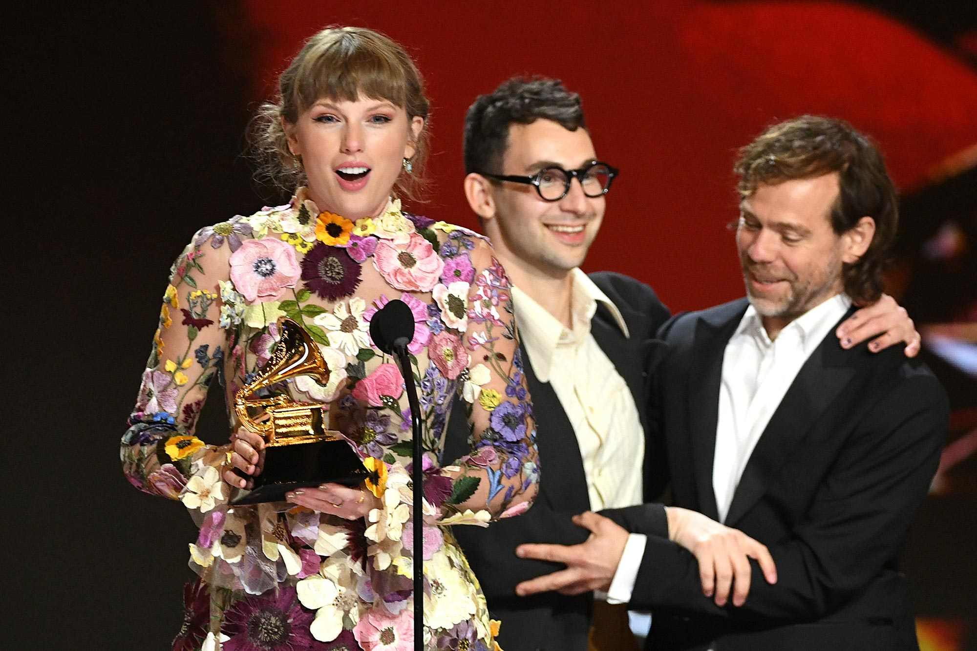 Taylor Swift, Jack Antonoff, and Aaron Dessner accept the Album of the Year