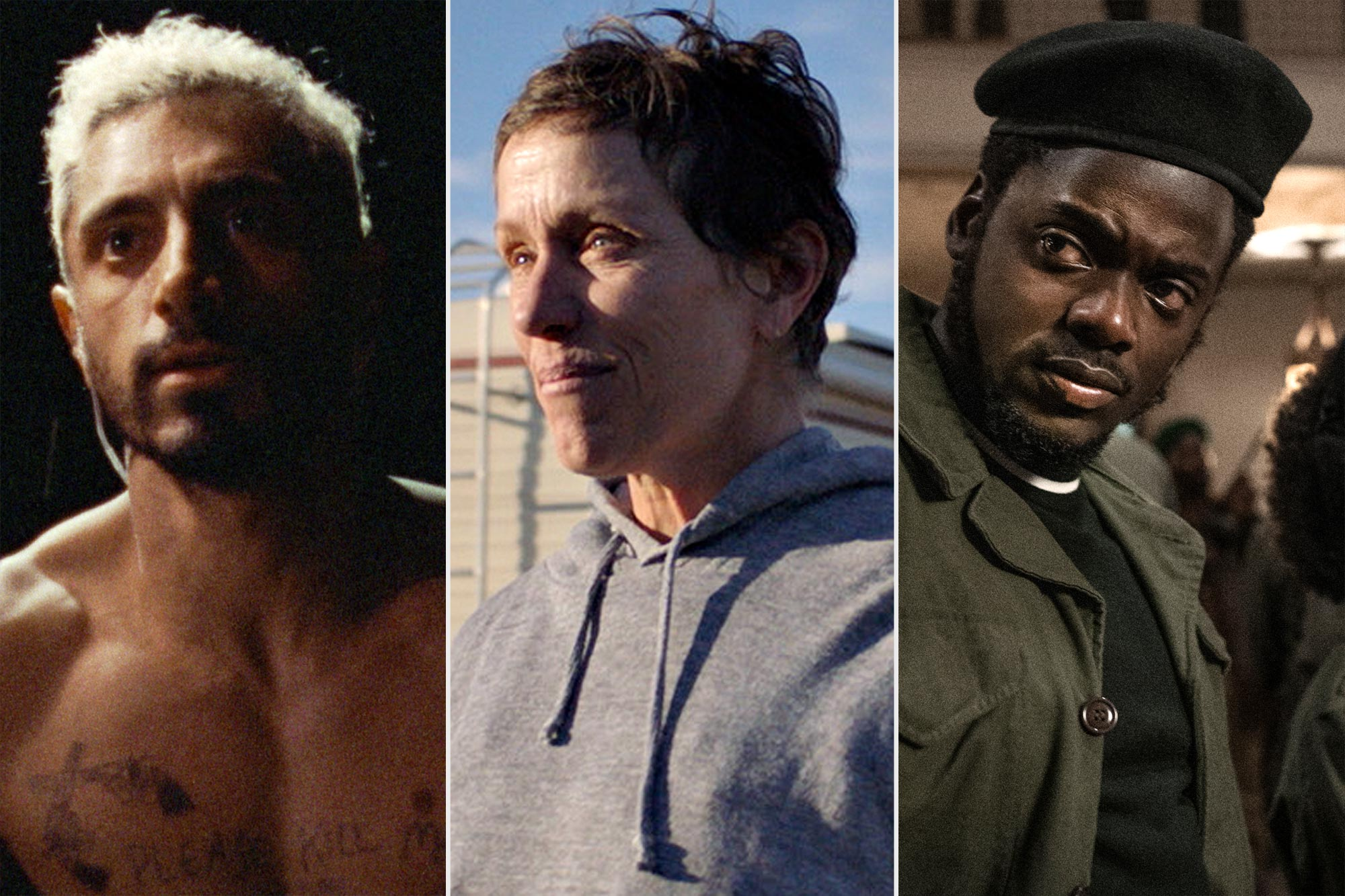Riz Ahmed in Sound of Metal, Frances McDormand in Nomadland, and Daniel Kaluuya in Judas and the Black Messiah