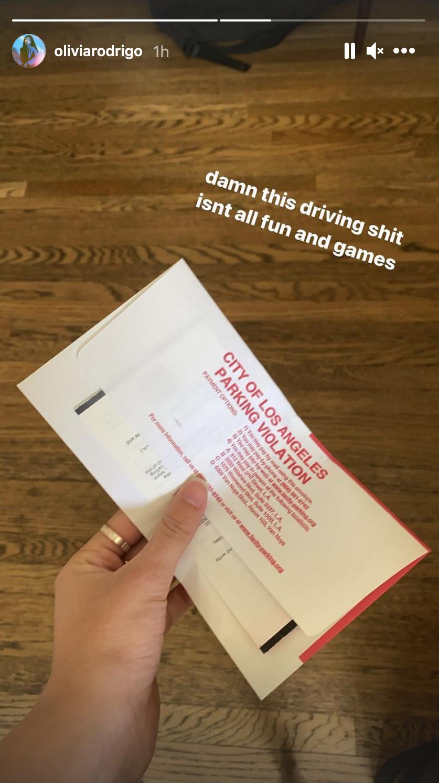 olivia rodrigo parking ticket
