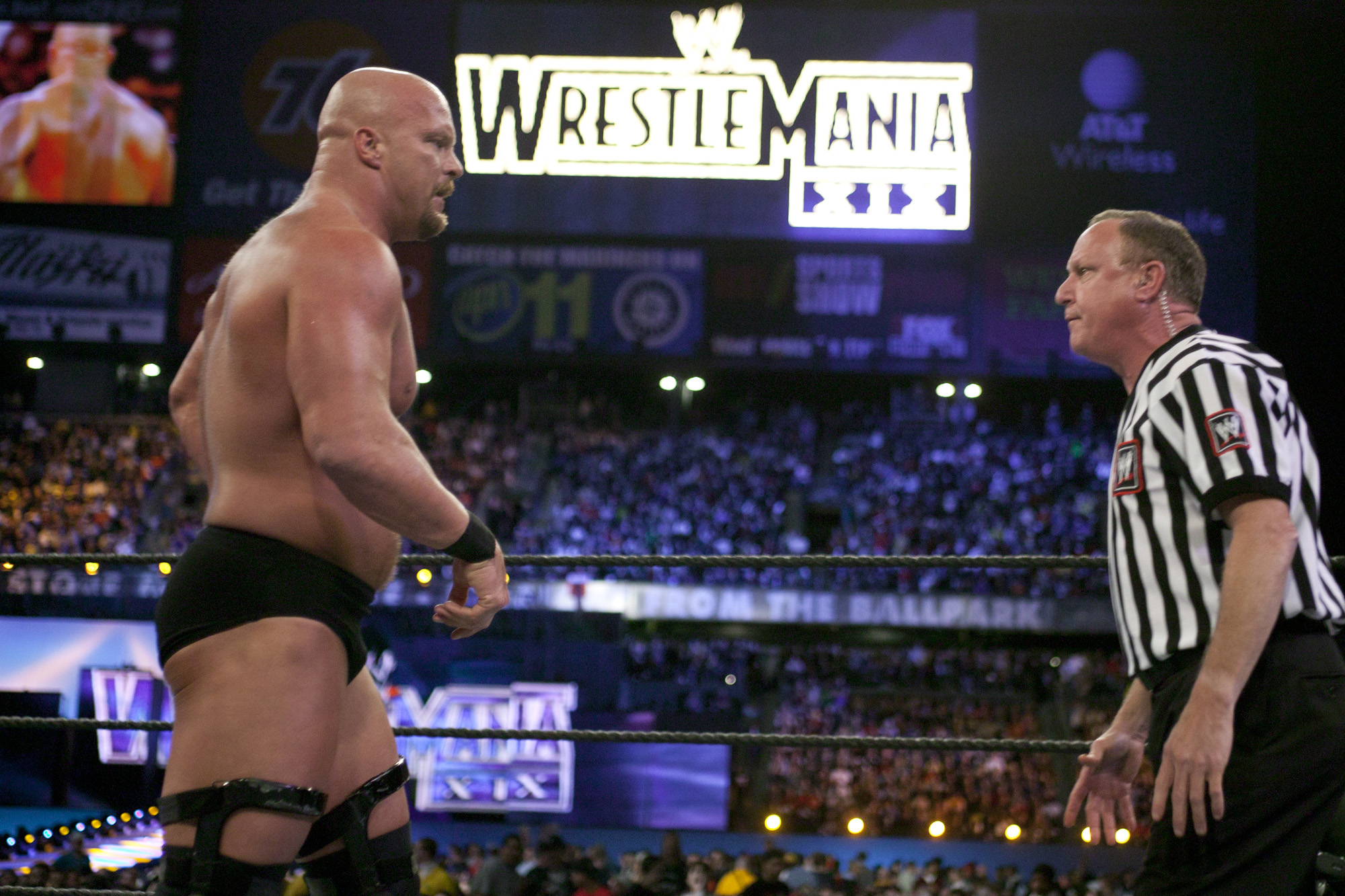 Stone Cold Steve Austin at his final match at WrestleMania XIX on March 30, 2003