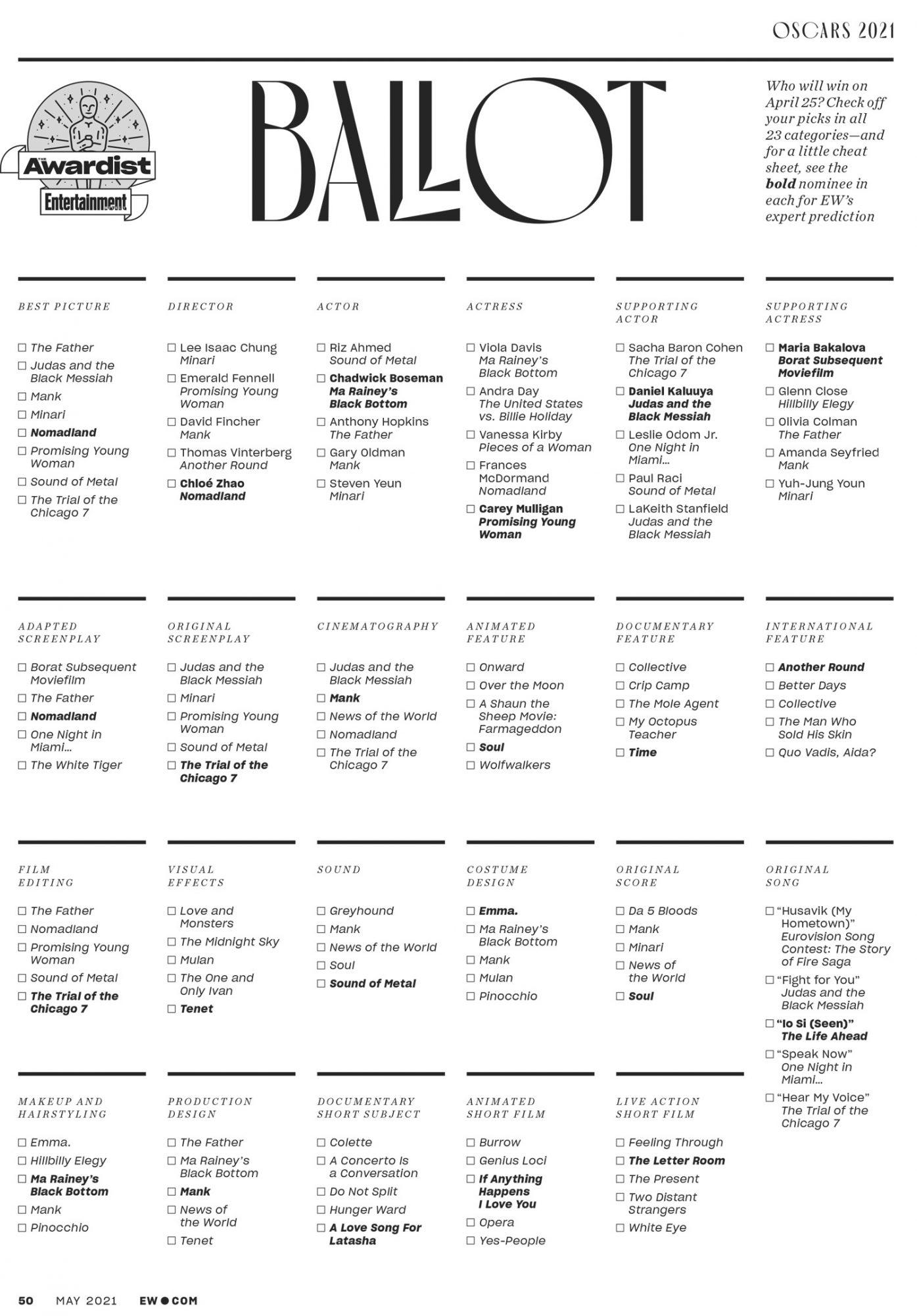 Oscars ballot