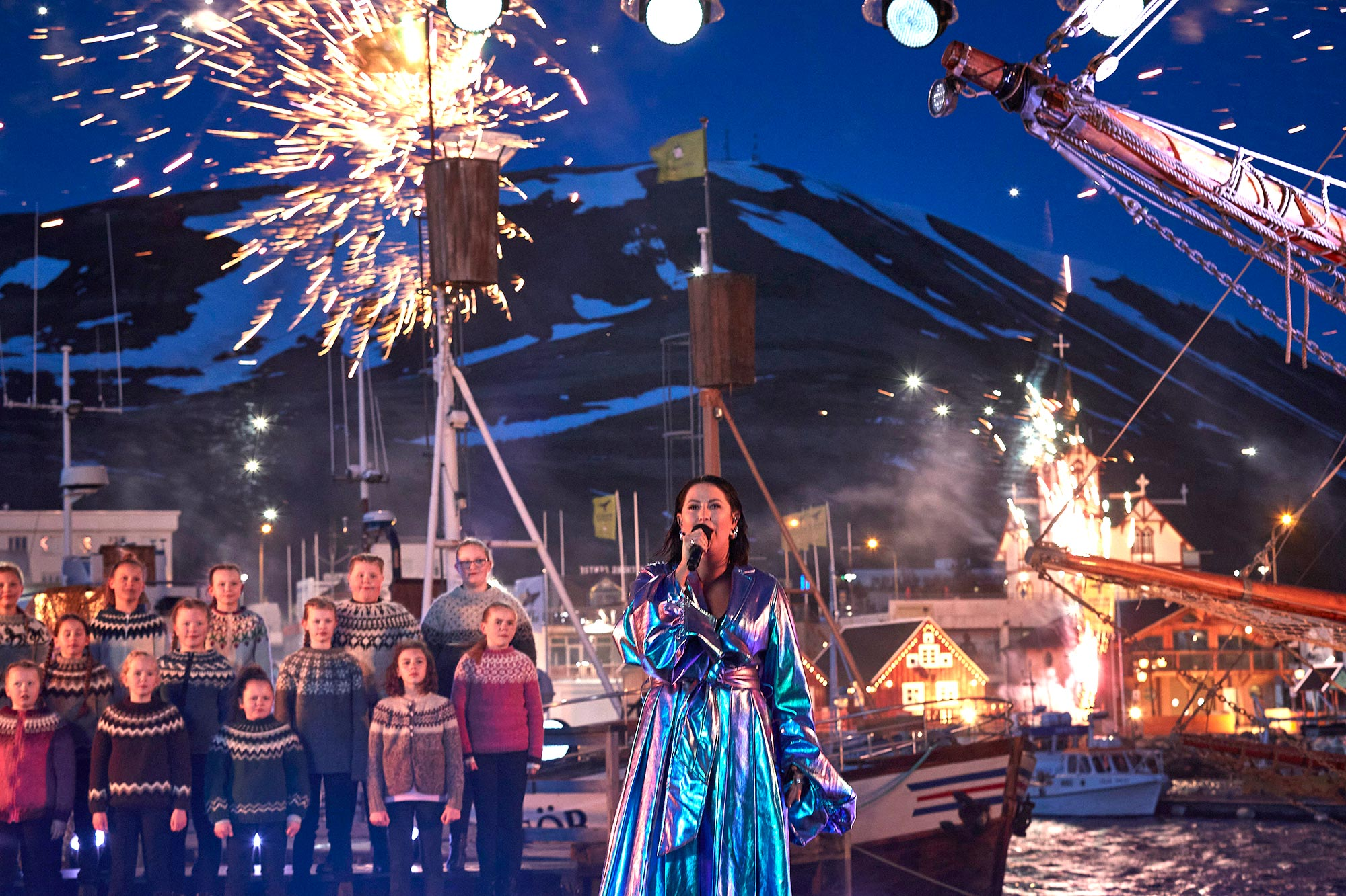 "HUSAVIK, ICELAND, APRIL 25: (EDITORIAL USE ONLY) In this handout photo provided by A.M.P.A.S., Molly Sandén performs ""Husavik"" for the ABC special ""Oscars: Into the Spotlight,"" the lead-in to the 93rd Oscars®, in Húsavík, Iceland on Monday, April 19, 2021. (Photo by Orly Orlyson/A.M.P.A.S. via Getty Images)"