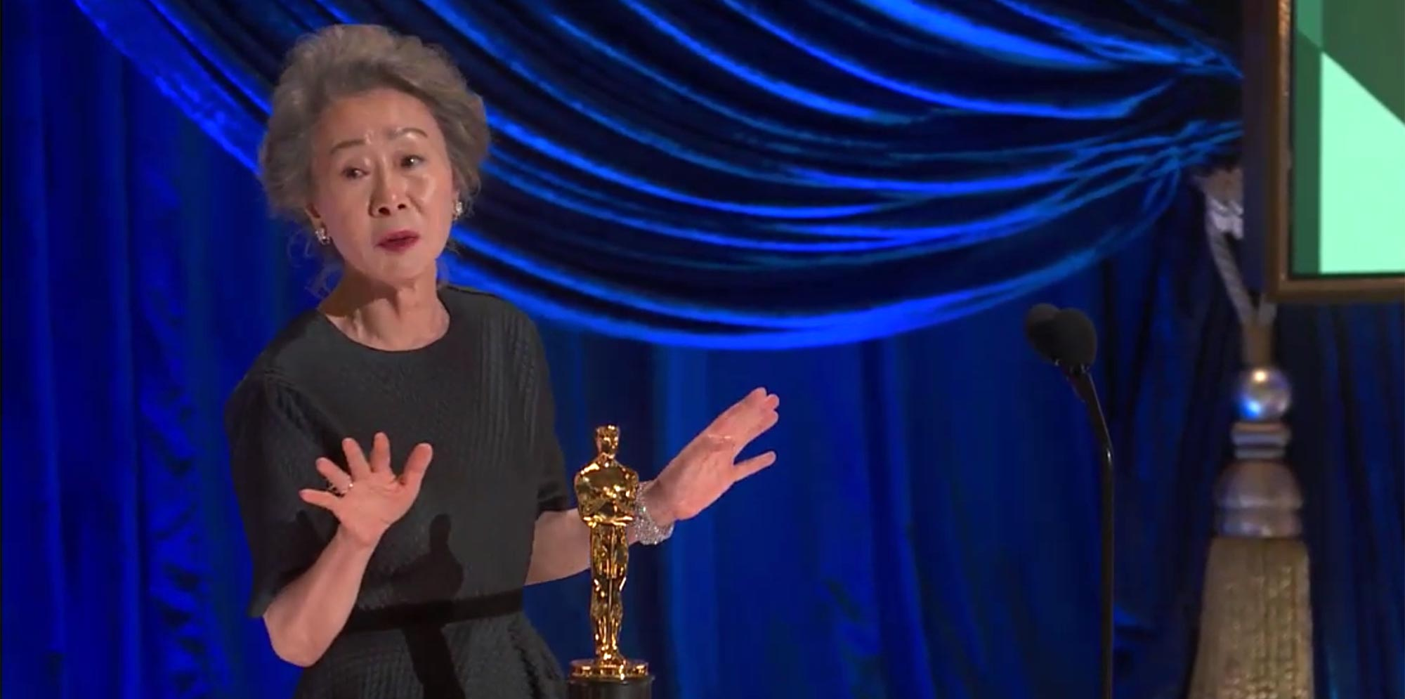 Yuh-Jung Youn wins Best Supporting Actress at the Oscars.