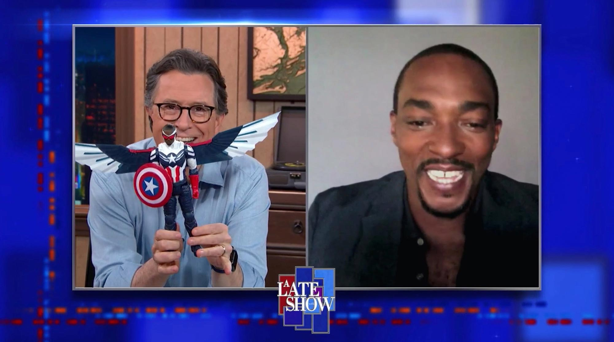 A Late Show with Stephen Colbert and guest Anthony Mackie