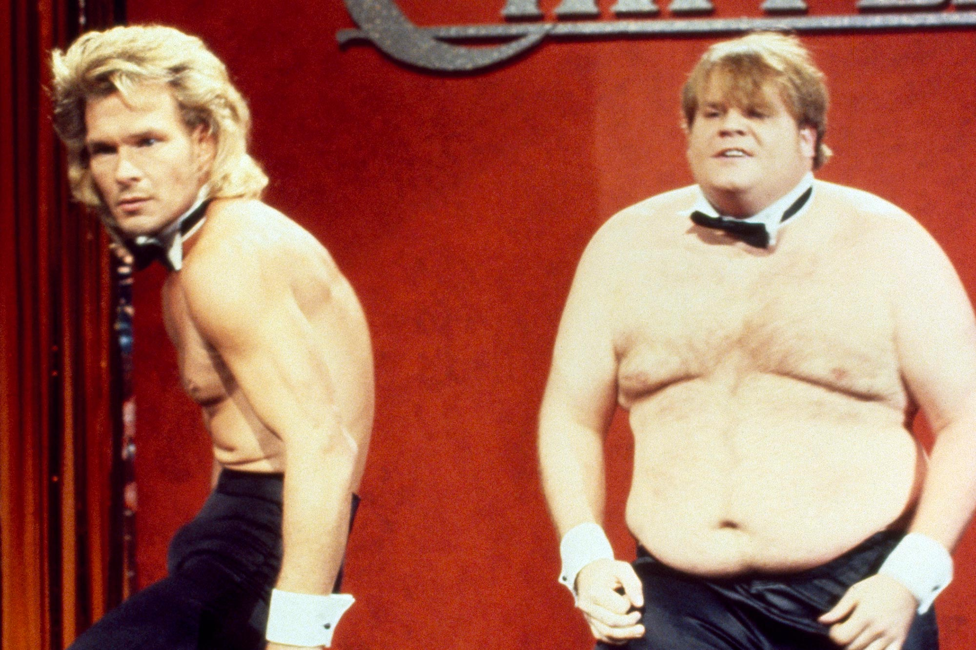 "Saturday Night Live Patrick Swayze as Adrian, Chris Farley as Barney during ""Chippendales Audition"""