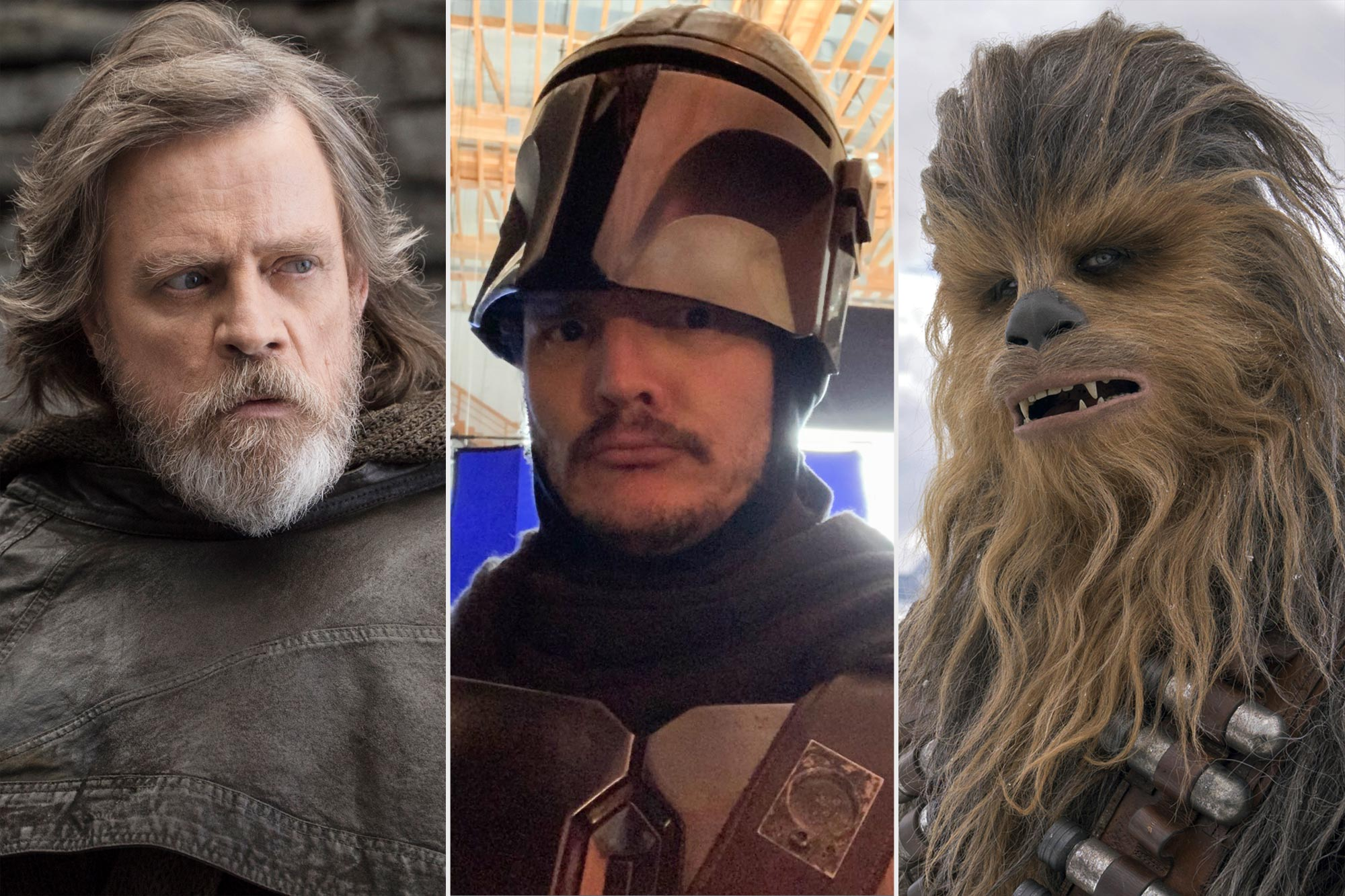 Mark Hamill as Luke Skywalker; Pedro Pascal; Joonas Suotamo as Chewbacca