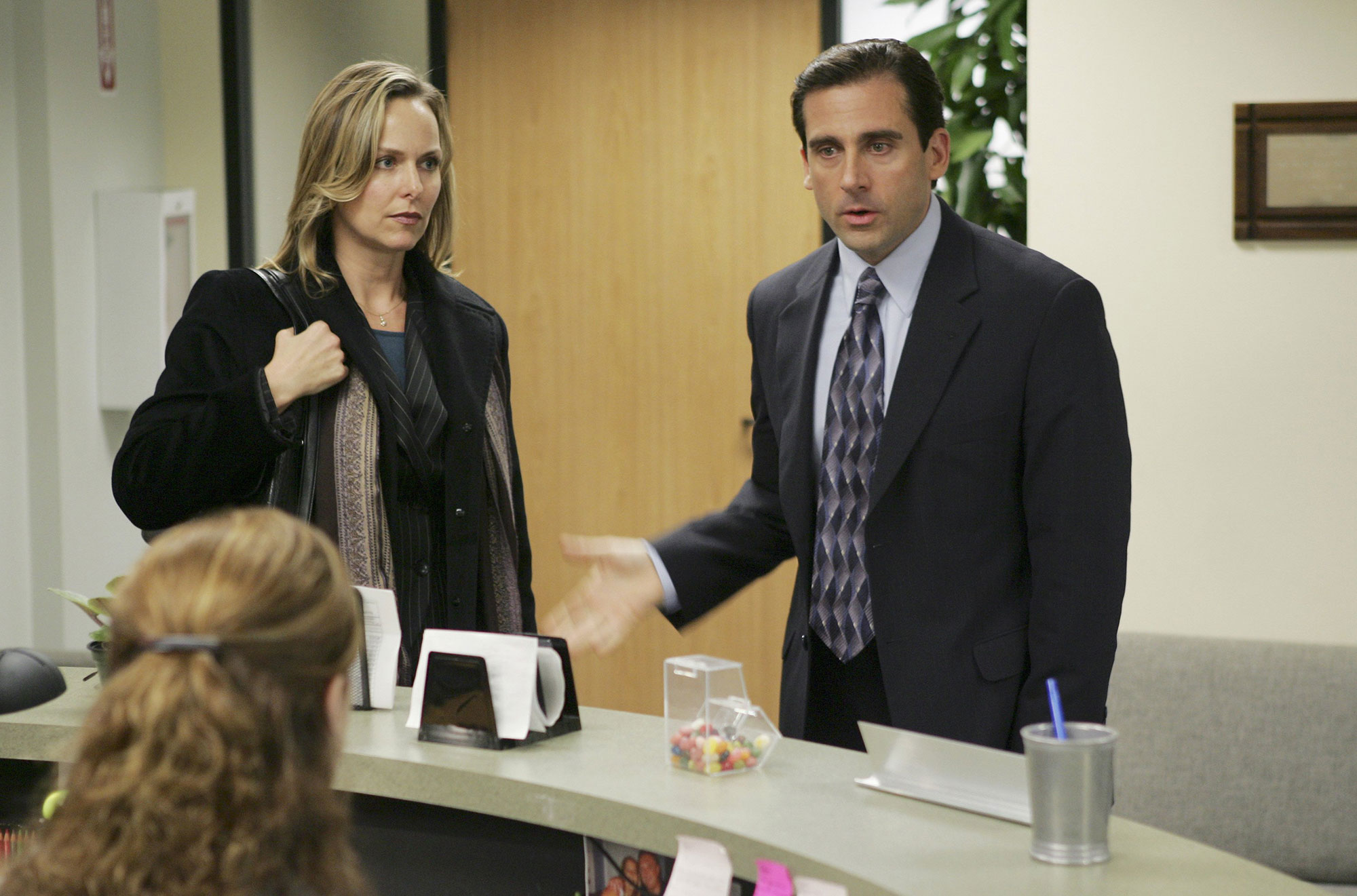 The Office Jenna Fischer as Pam Beesly, Melora Hardin as Jan Levinson and Steve Carell as Michael Scott
