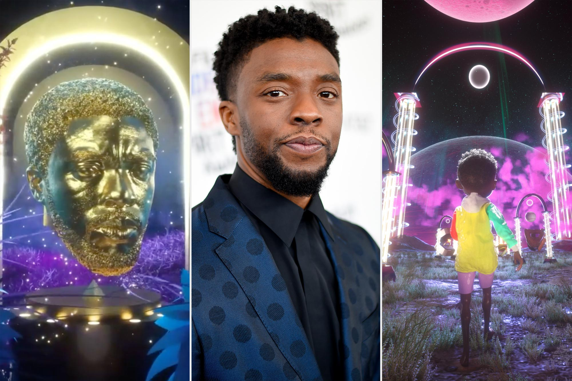 Chadwick Boseman with NFT art