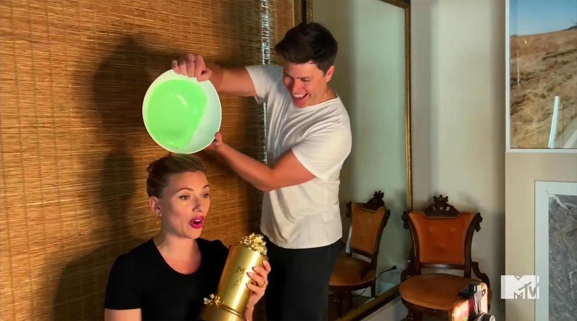 Colin Jost Slimes Scarlett Johansson During Acceptance Speech