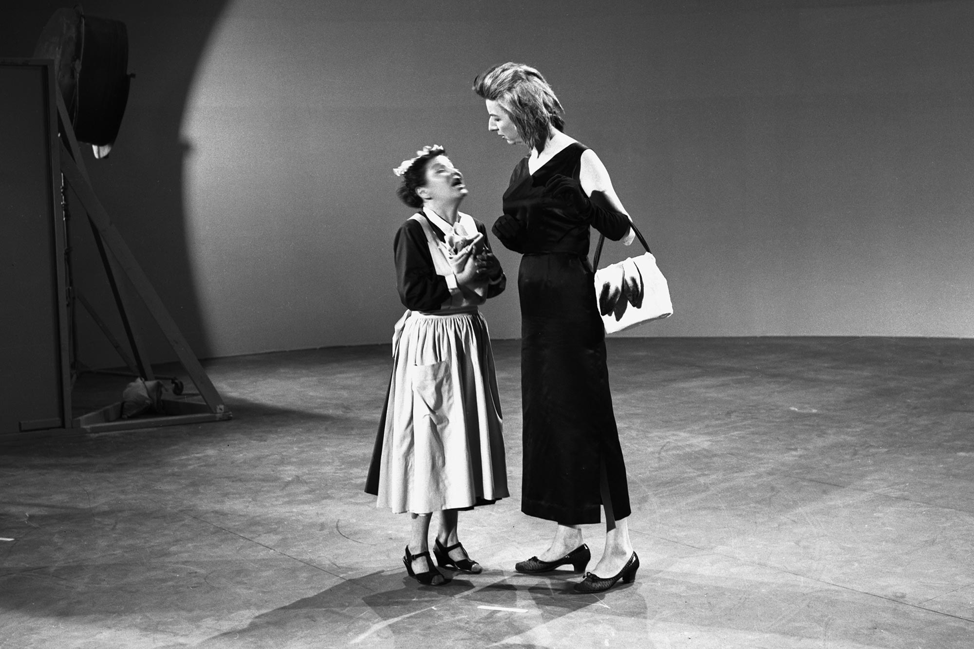 Left to Right: Barbara Luddy (Nanny) and Mary Wickes (Cruella De Vil) perform live-action reference for Walt Disney's One Hundred and One Dalmatians (1961).