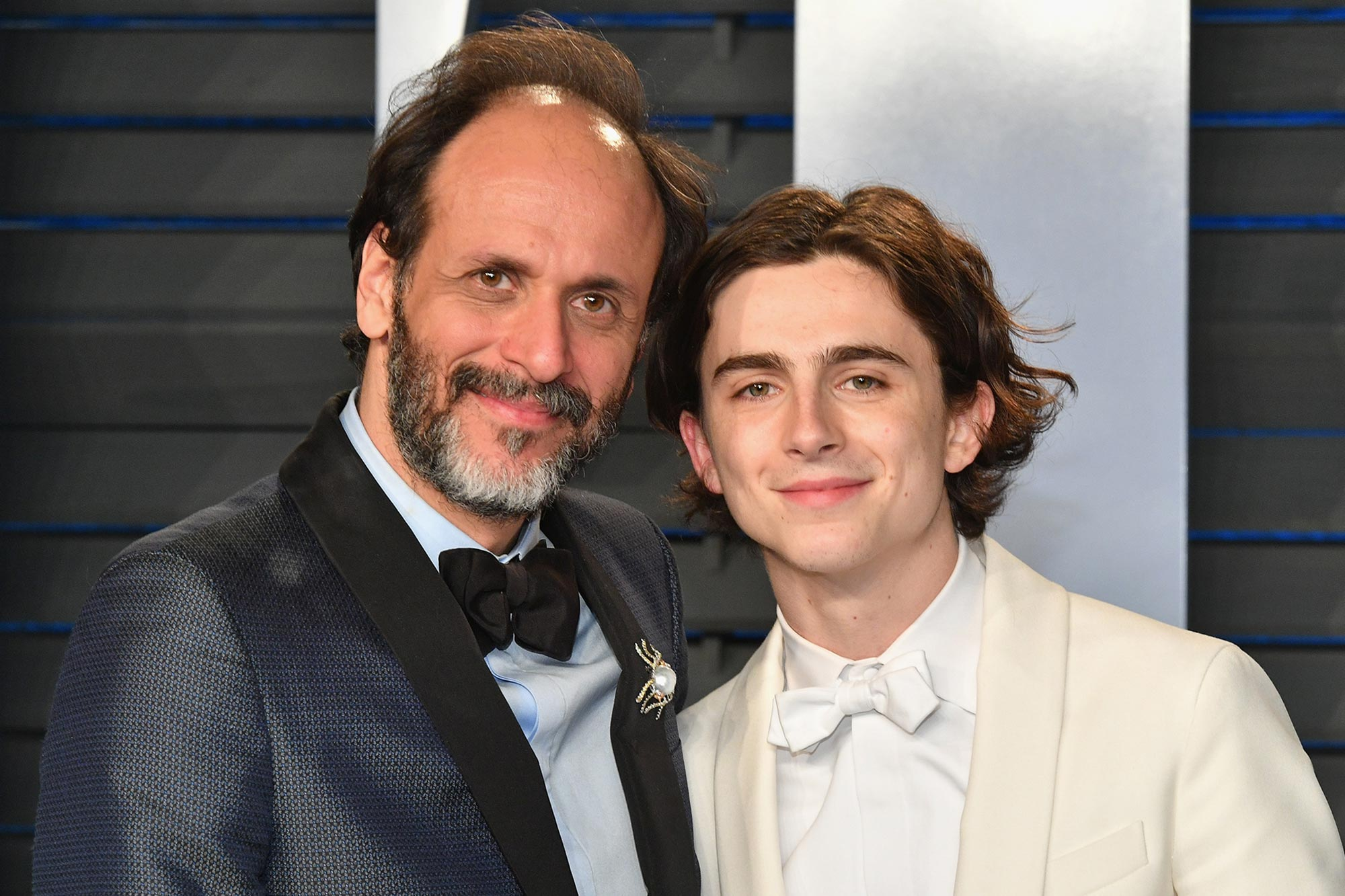 Luca Guadagnino (L) and Timothee Chalamet
