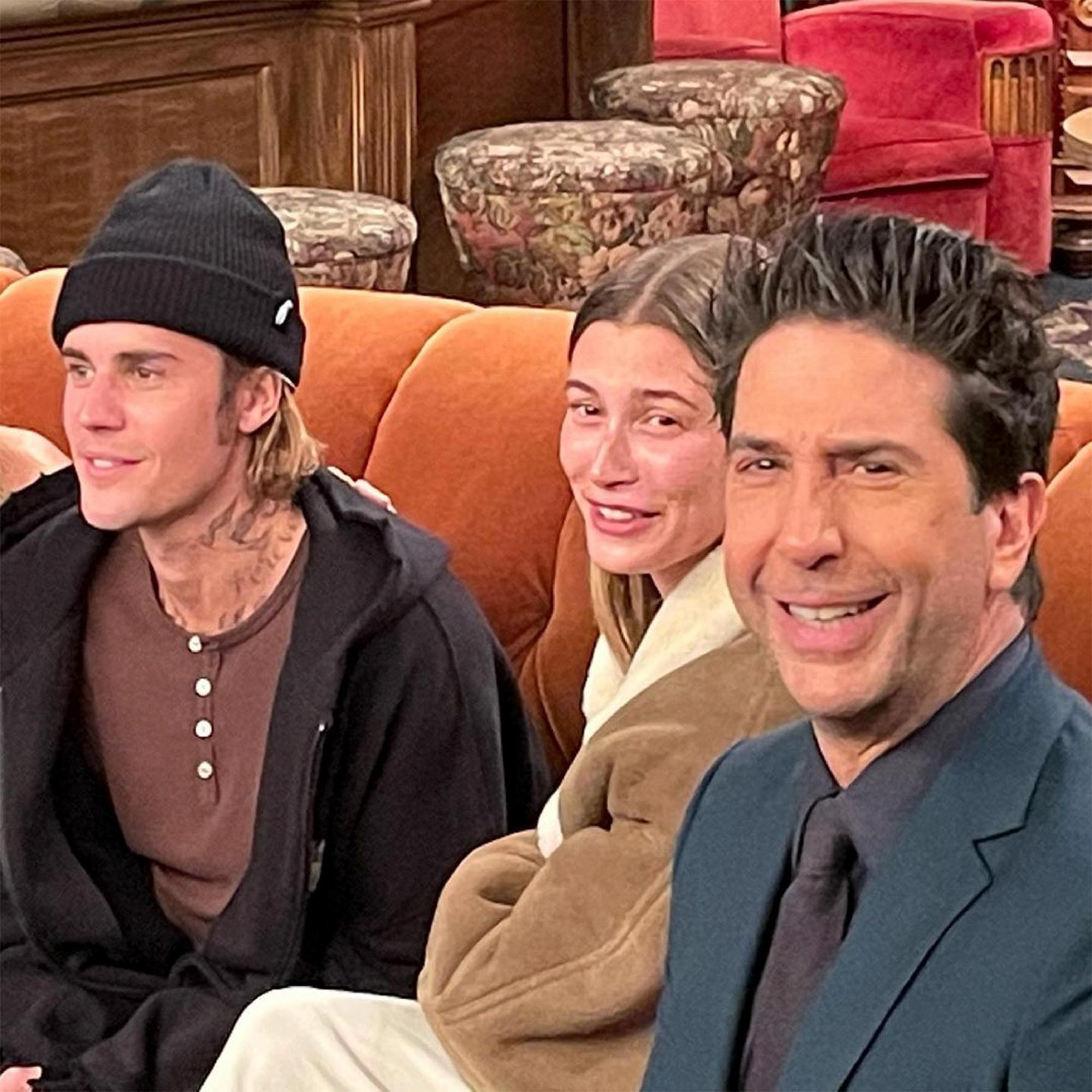 Justin Bieber, Hailey Bieber and David Schwimmer