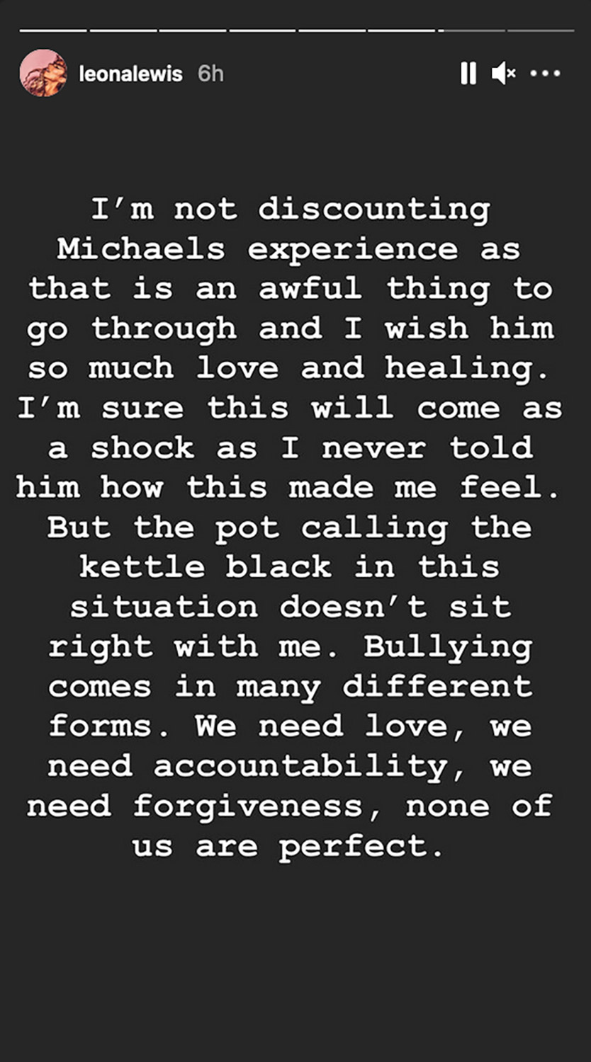 Michael Costello and Leona Lewis IG Story grabs