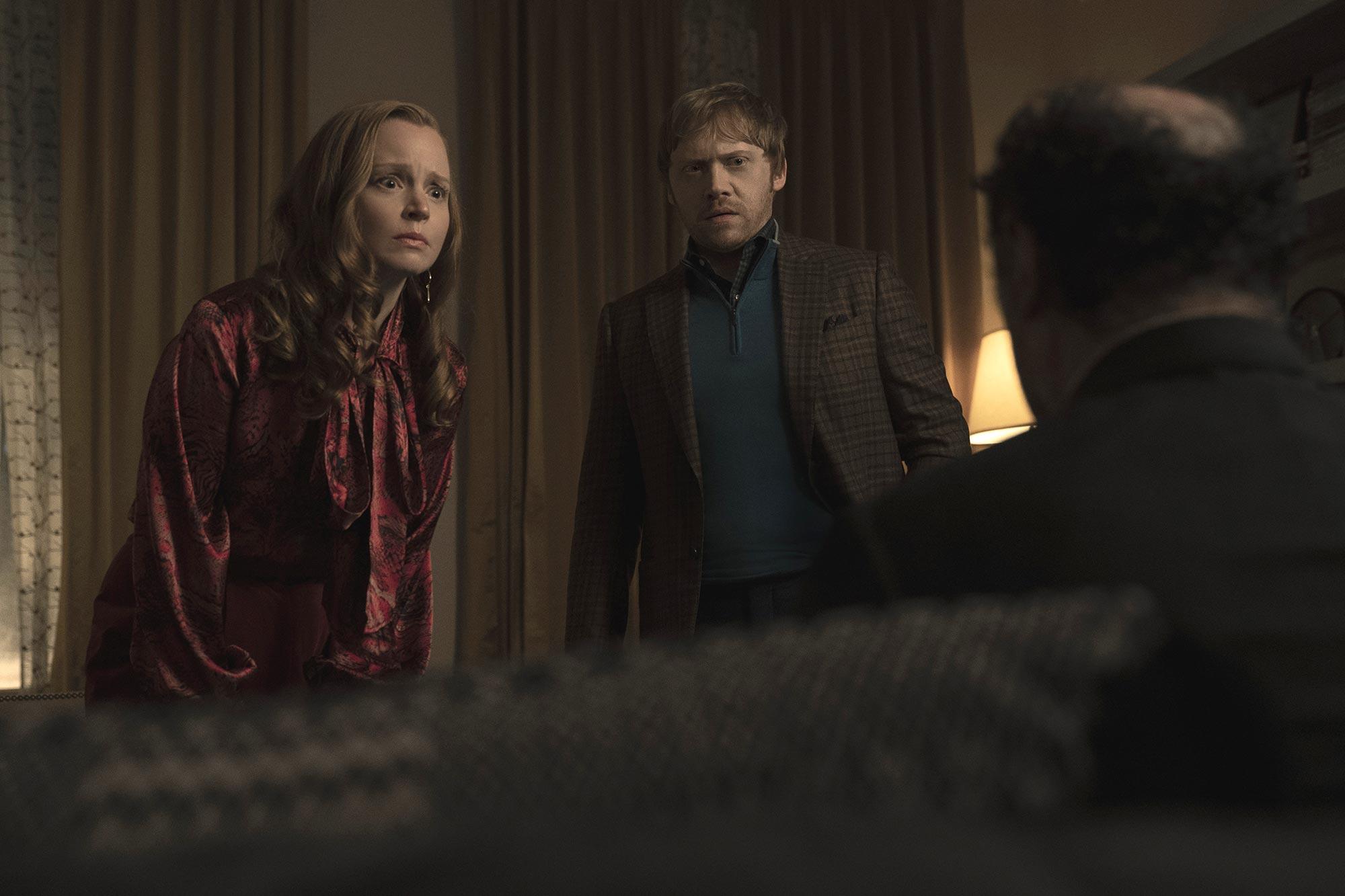 "Lauren Ambrose and Rupert Grint in ""Servant,"" now streaming on Apple TV+."