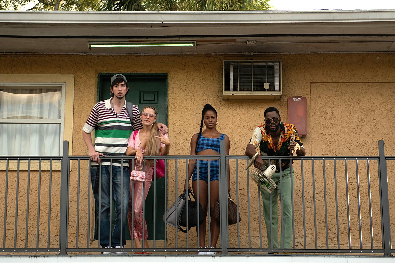 """Nick Braun as """"Derrek"""", Riley Keough as """"Stefani"""", Taylour Paige as """"Zola"""", and Colman Domingo as """"X"""""""