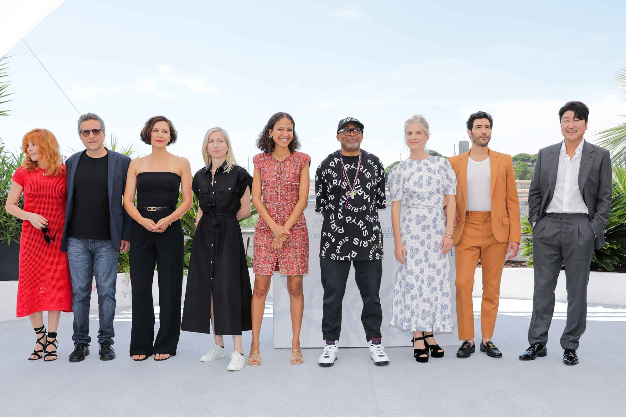 Cannes 2021 Red Carpet - Mylene Farmer, Kleber Mendonça Filho, Maggie Gyllenhaal, Jessica Hausner, Mati Diop, jury president Spike Lee, Melanie Laurent, Tahar Rahim and Song Kang-ho