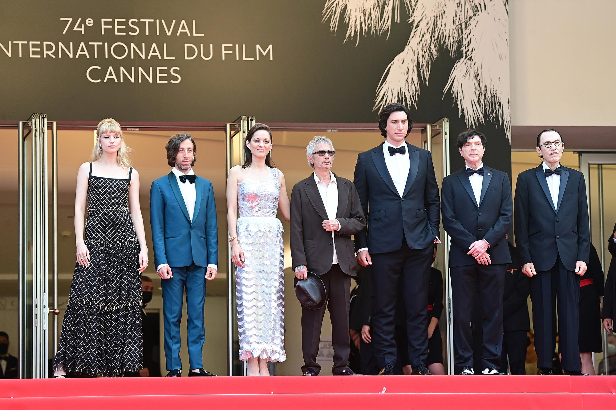 Cannes 2021 Red Carpet Angele, Simon Helberg, Marion Cotillard, director Leos Carax, Adam Driver, Russell Mael and Ron Mael