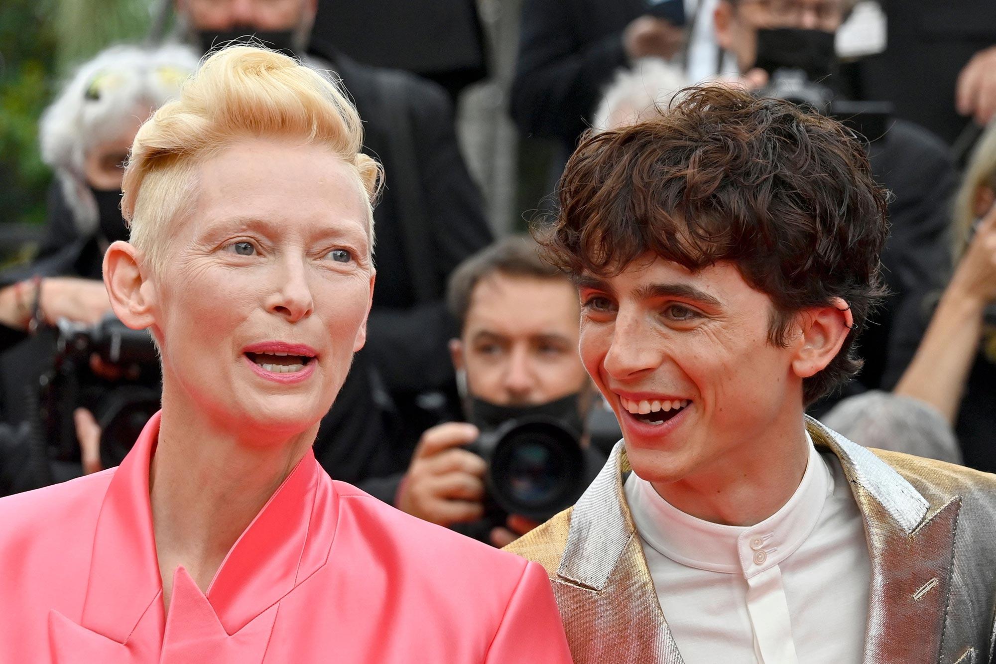 Tilda Swinton and Timothée Chalamet