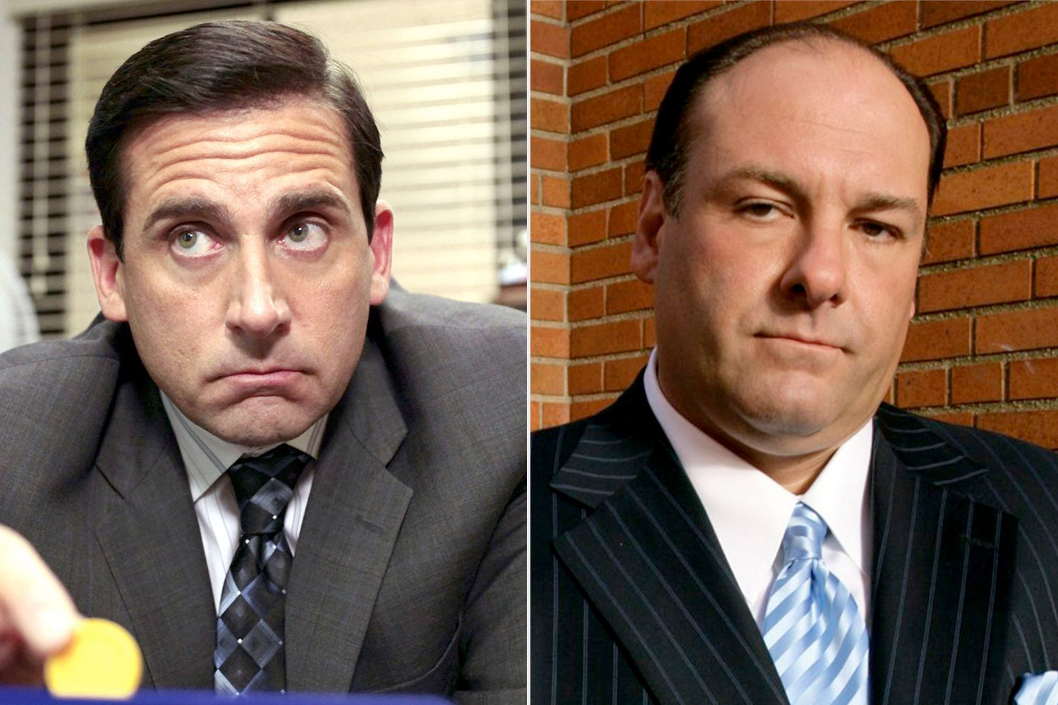 james gandolfini in the sopranos with steve carell on the office