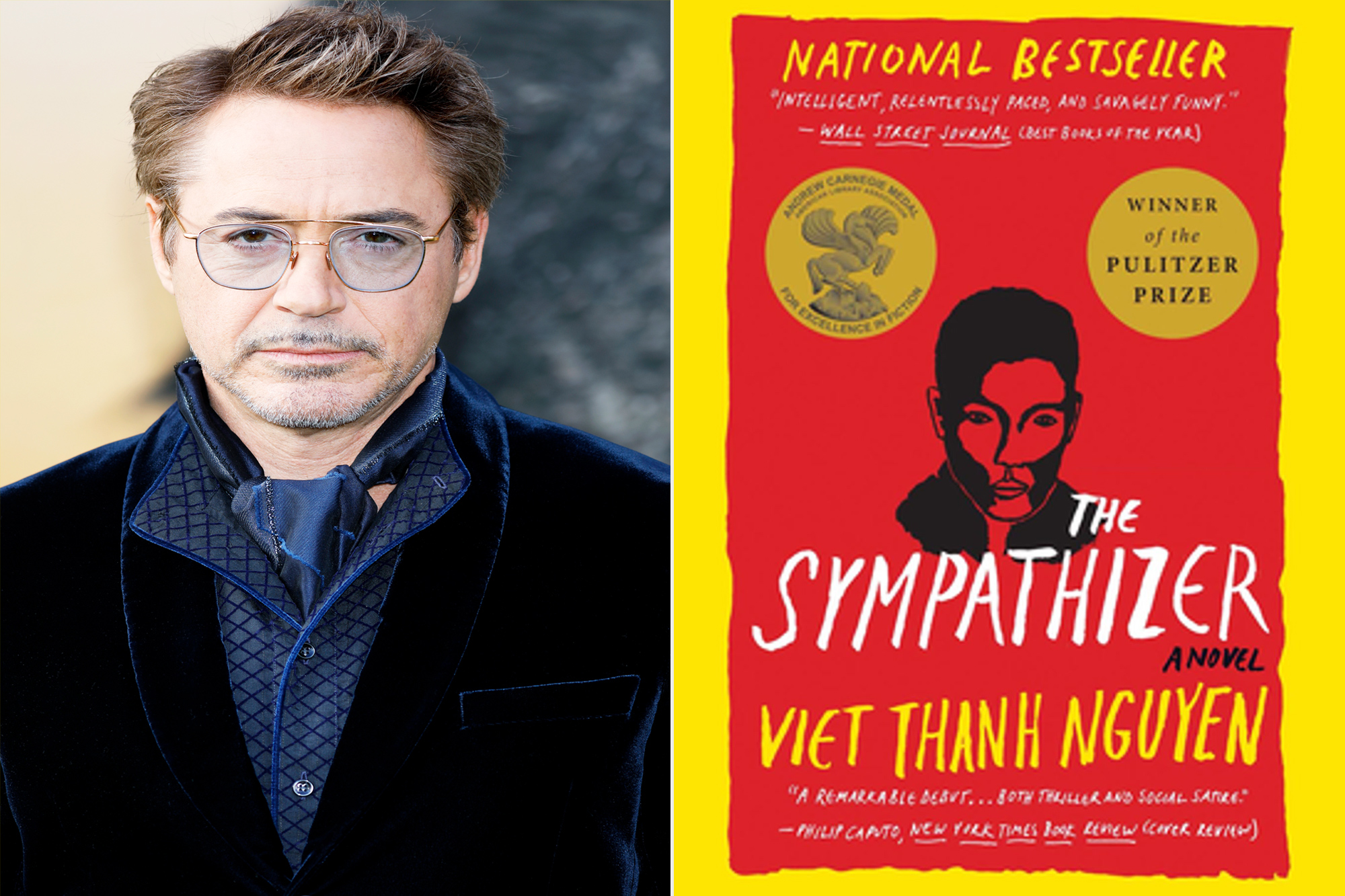 Robert Downey Jr and the cover of the Sympathizer book