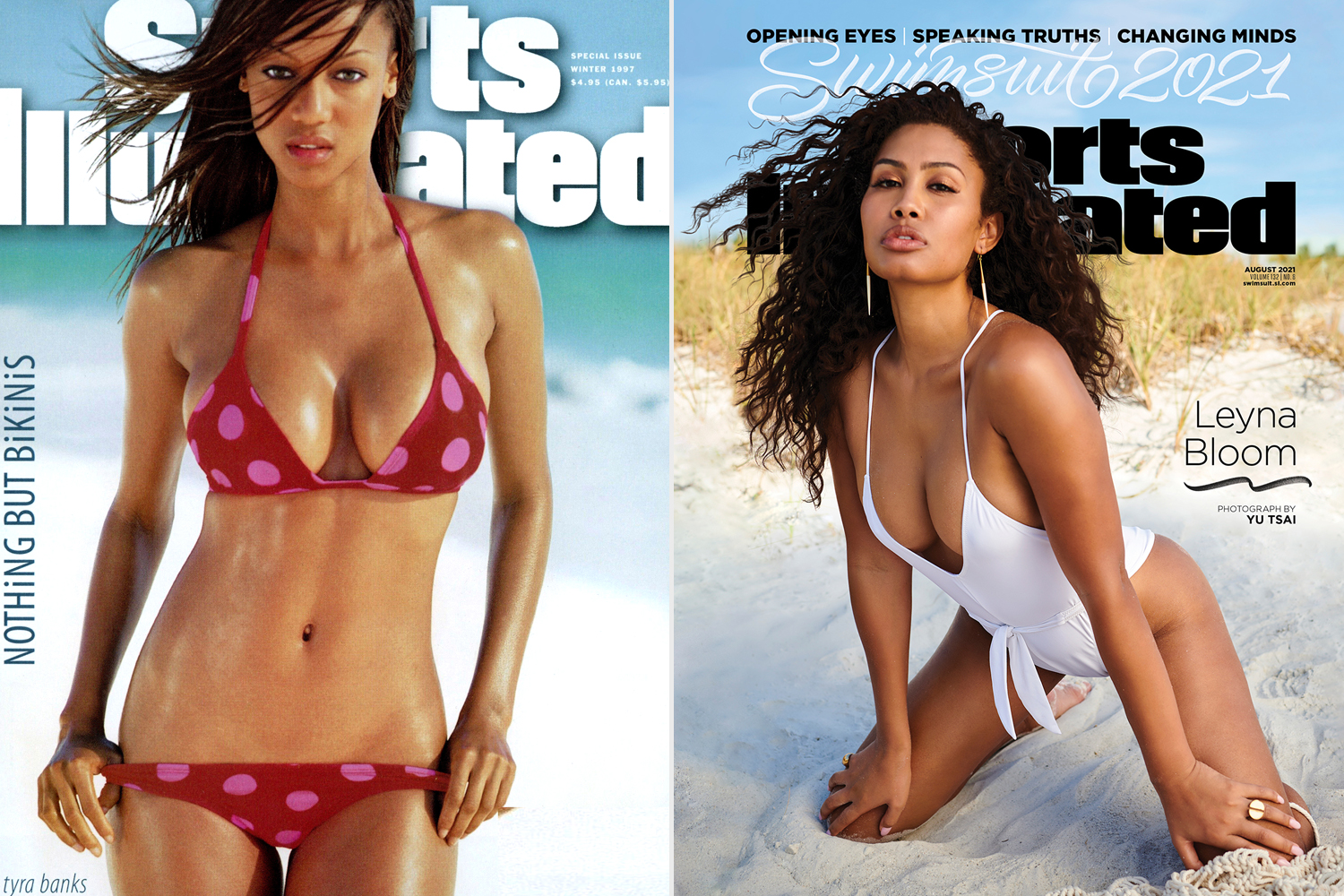 1997 Sports Illustrated Swimsuit Issue Cover. Tyra Banks; LEYNA BLOOM SI Swim cover