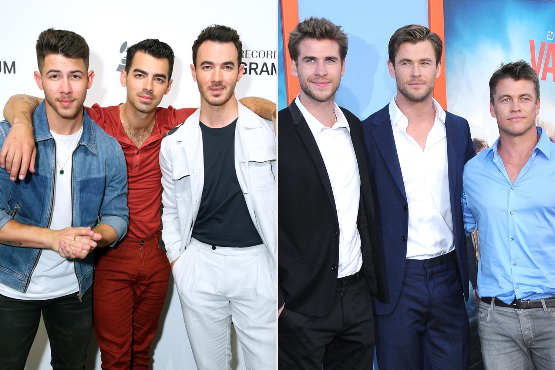 Nick Jonas, Joe Jonas, Kevin Jonas; Liam Hemsworth, Chris Hemsworth; Luke Hemsworth