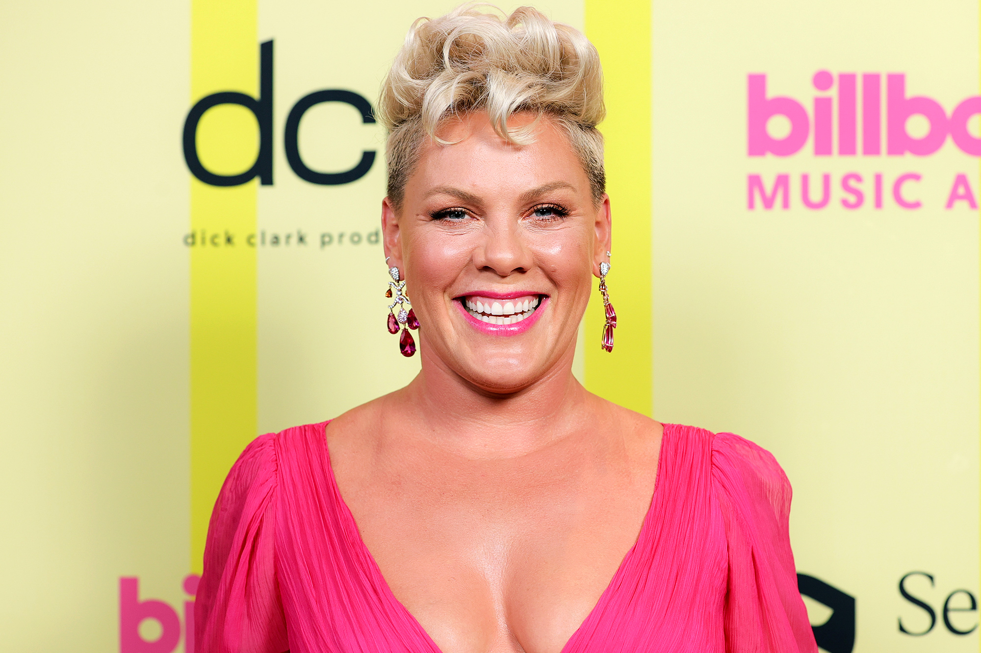 Pink poses backstage for the 2021 Billboard Music Awards, broadcast on May 23, 2021 at Microsoft Theater in Los Angeles, California.