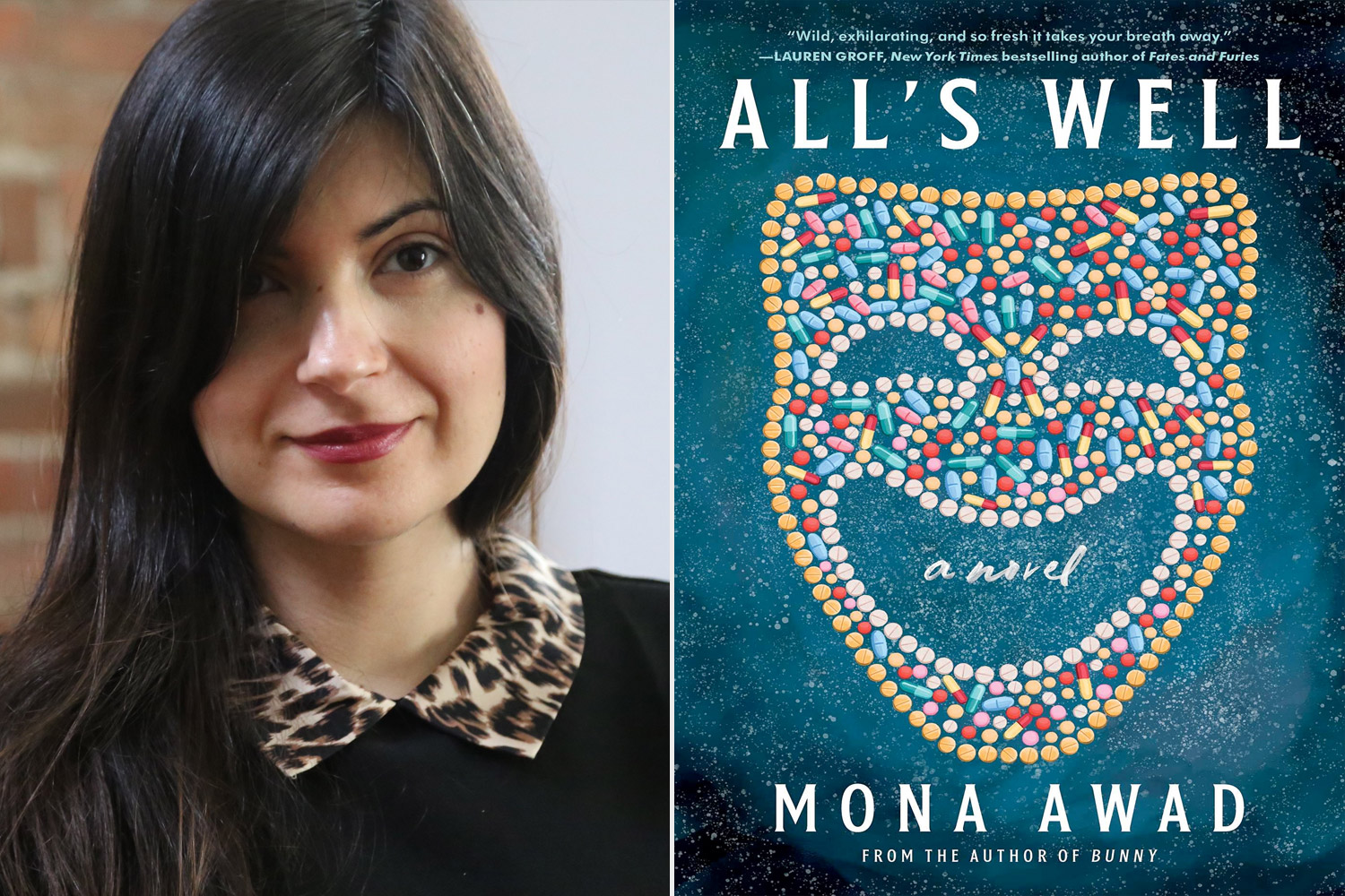 Mona Awad and the cover of her book All's Well