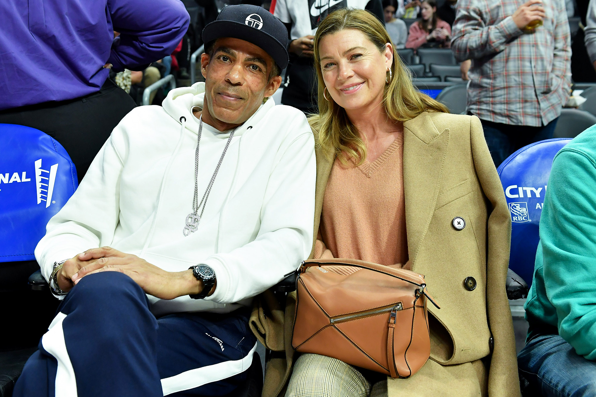 Chris Ivery and Ellen Pompeo attend a basketball game between the Los Angeles Clippers and Cleveland Cavaliers at Staples Center on January 14, 2020 in Los Angeles, California.