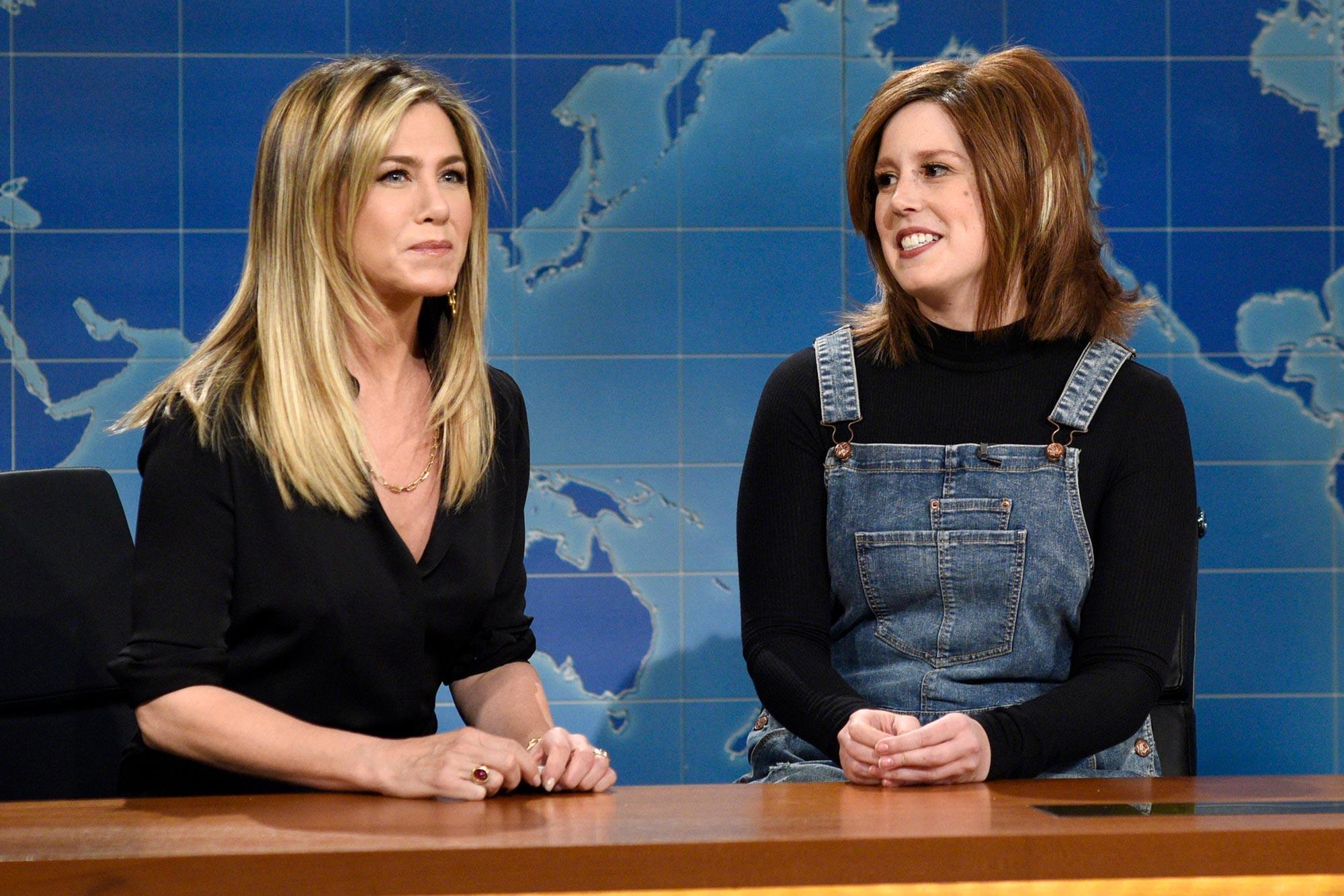 "Saturday Night Live. Jennifer Aniston, Vanessa Bayer as Rachel from ""Friends"""