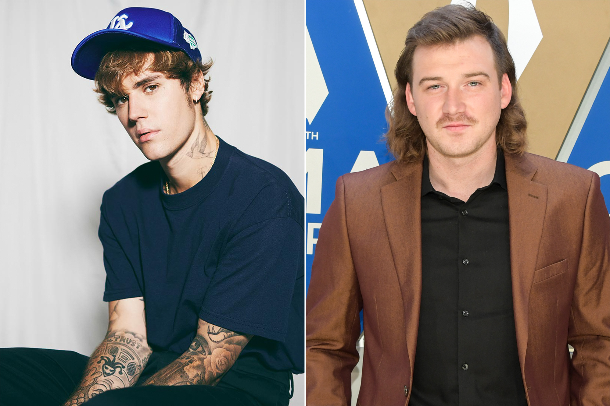 (L-R) Justin Bieber, Morgan Wallen