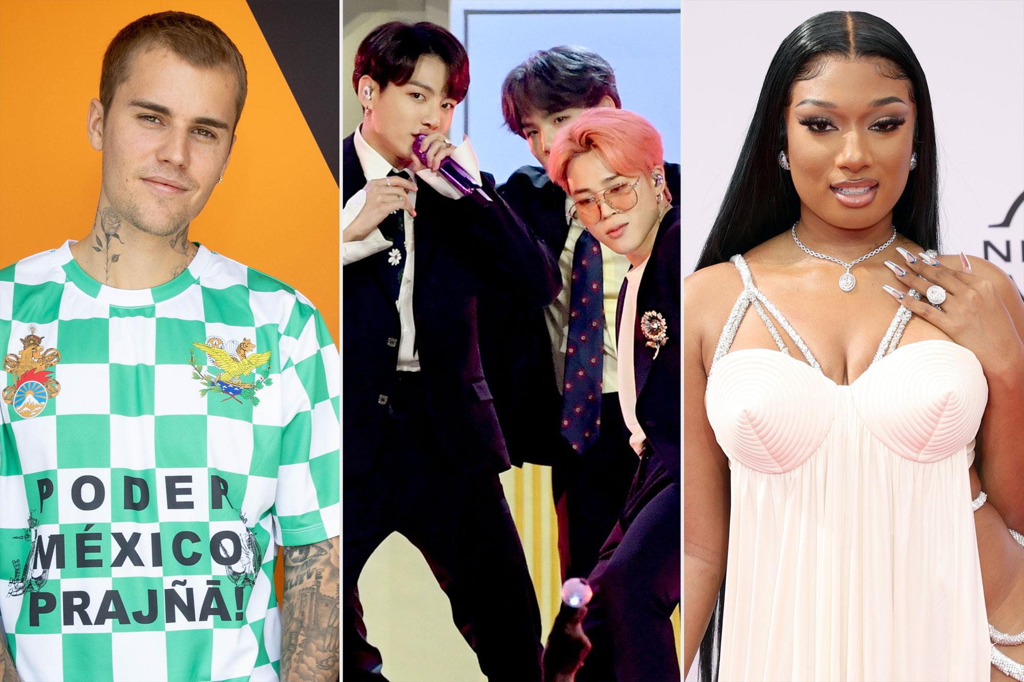 MTV VMAS Justin Bieber; BTS; Megan Thee Stallion