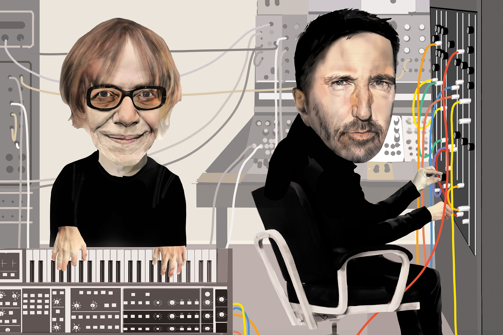 Danny Elfman and Trent Reznor illo from October 2021 issue