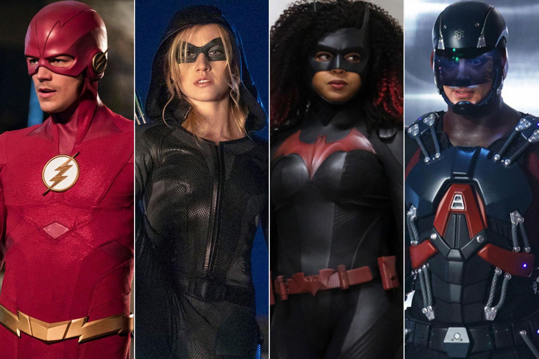 Grant Gustin as the Flash, Kat McNamara as Mia Queen (Arrow), Javicia Leslie as Batwoman, and Brandon Routh as Atom