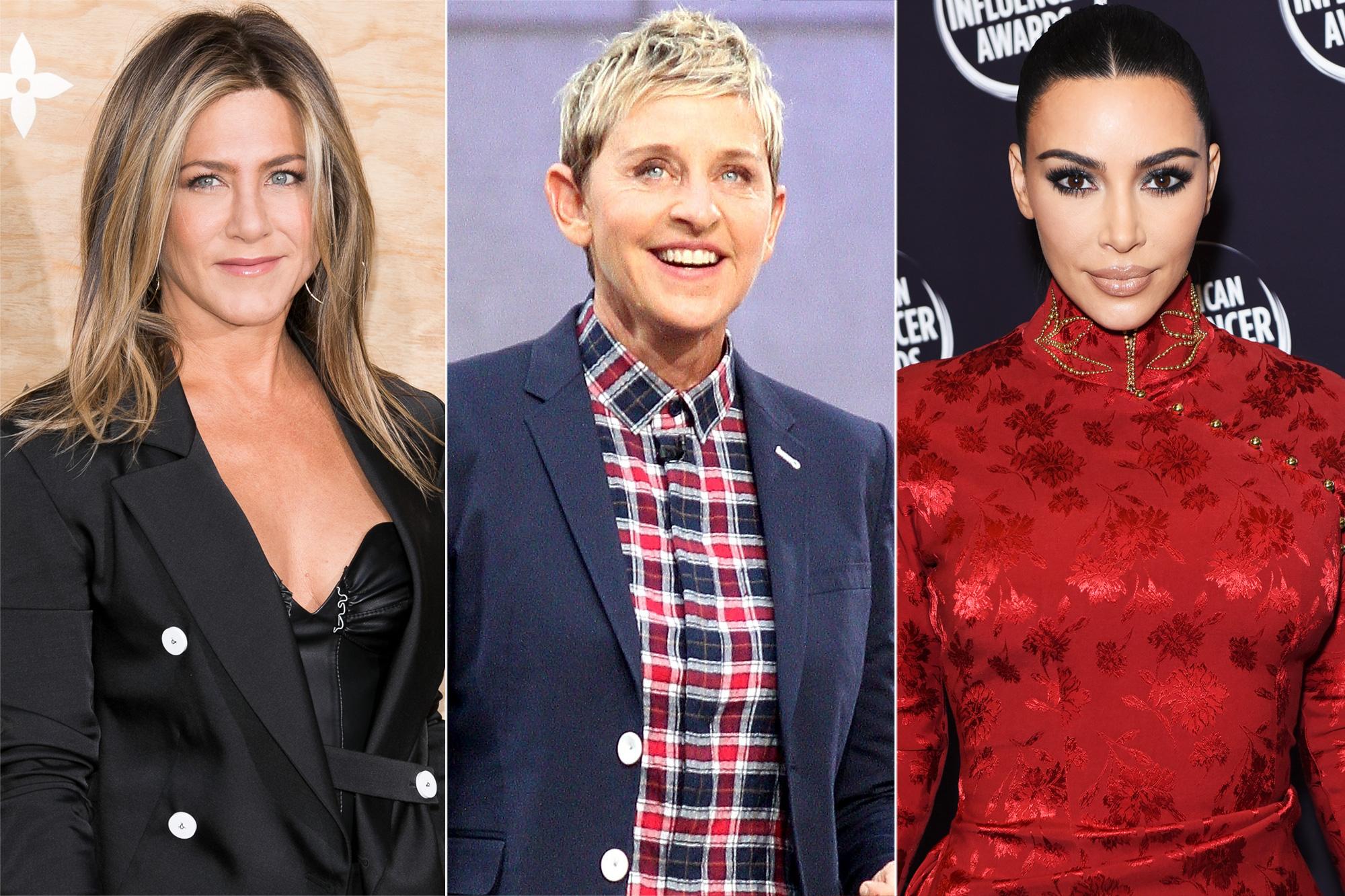 Jennifer Aniston, Ellen DeGeneres, and Kim Kardashian