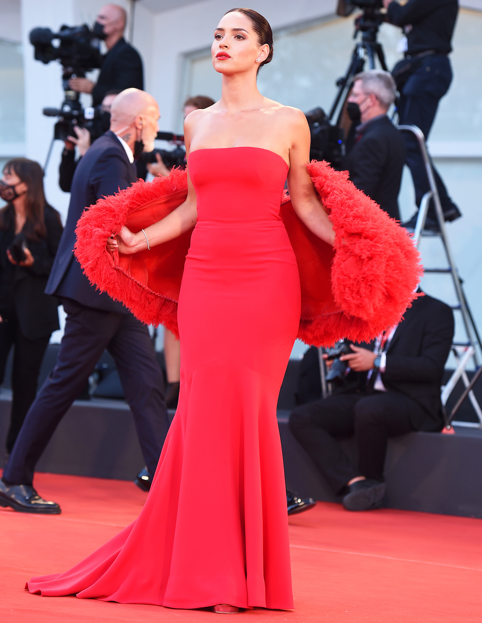 """Adria Arjona attends the red carpet of the movie """"Competencia Oficial"""" during the 78th Venice International Film Festival on September 04, 2021 in Venice, Italy."""