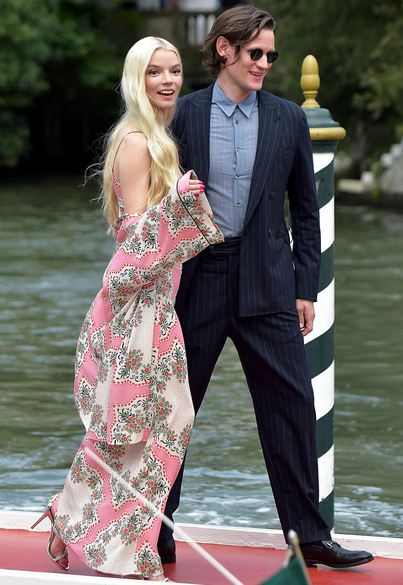Anya Taylor-Joy and Matt Smith are seen arriving at the 78th Venice International Film Festival on September 04, 2021 in Venice, Italy.