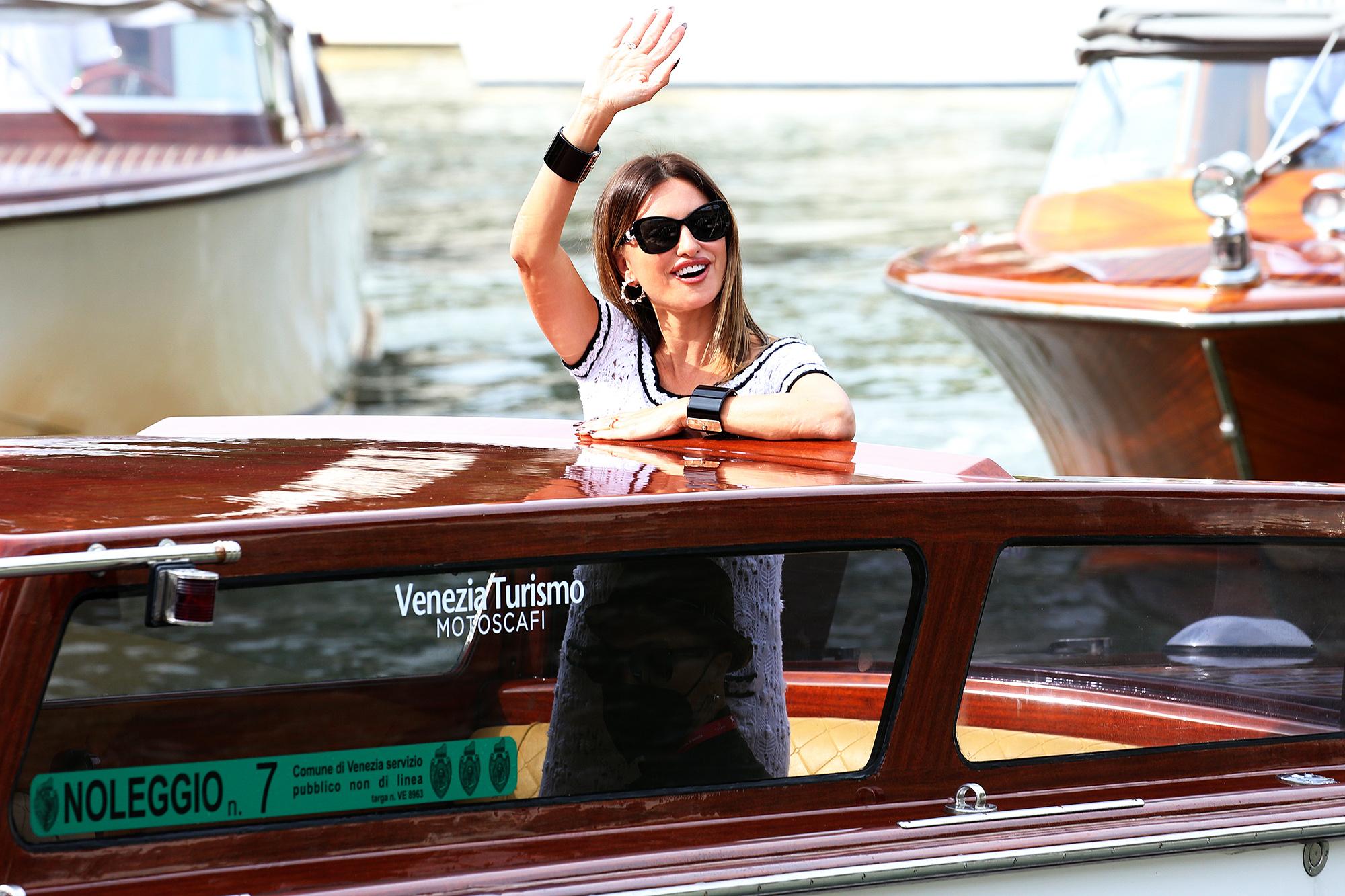 Penelope Cruz is seen arriving at the 78th Venice International Film Festival on September 04, 2021 in Venice, Italy.