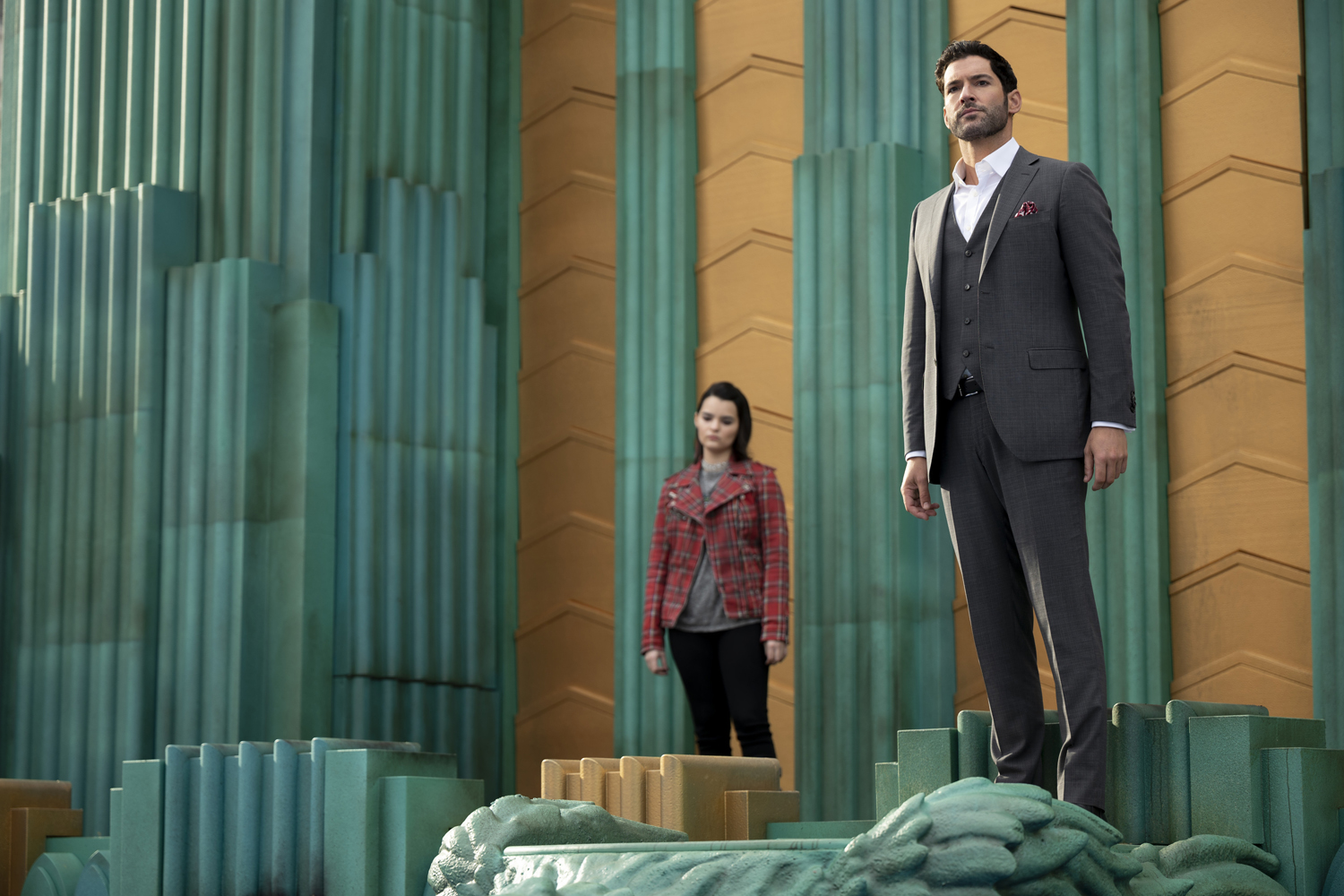 LUCIFER (L to R) BRIANNA HILDEBRAND as RORY and TOM ELLIS as LUCIFER MORNINGSTAR in episode 607 of LUCIFER