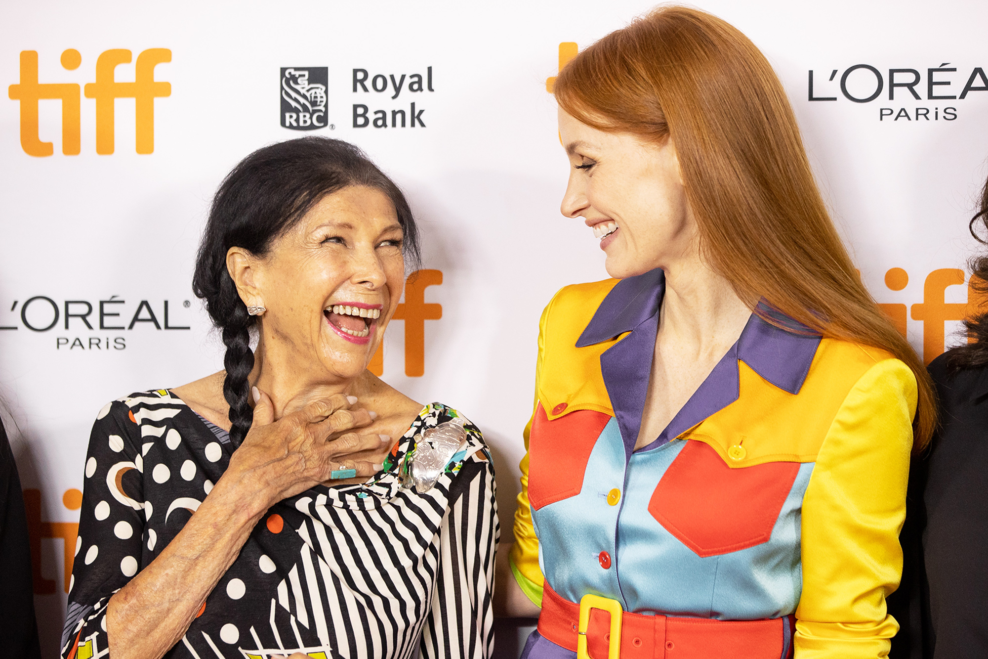 Alanis Obomsawin and Jessica Chastain attend the 2021 TIFF Tribute Awards Press Conference at Roy Thomson Hall on September 11, 2021 in Toronto, Ontario.