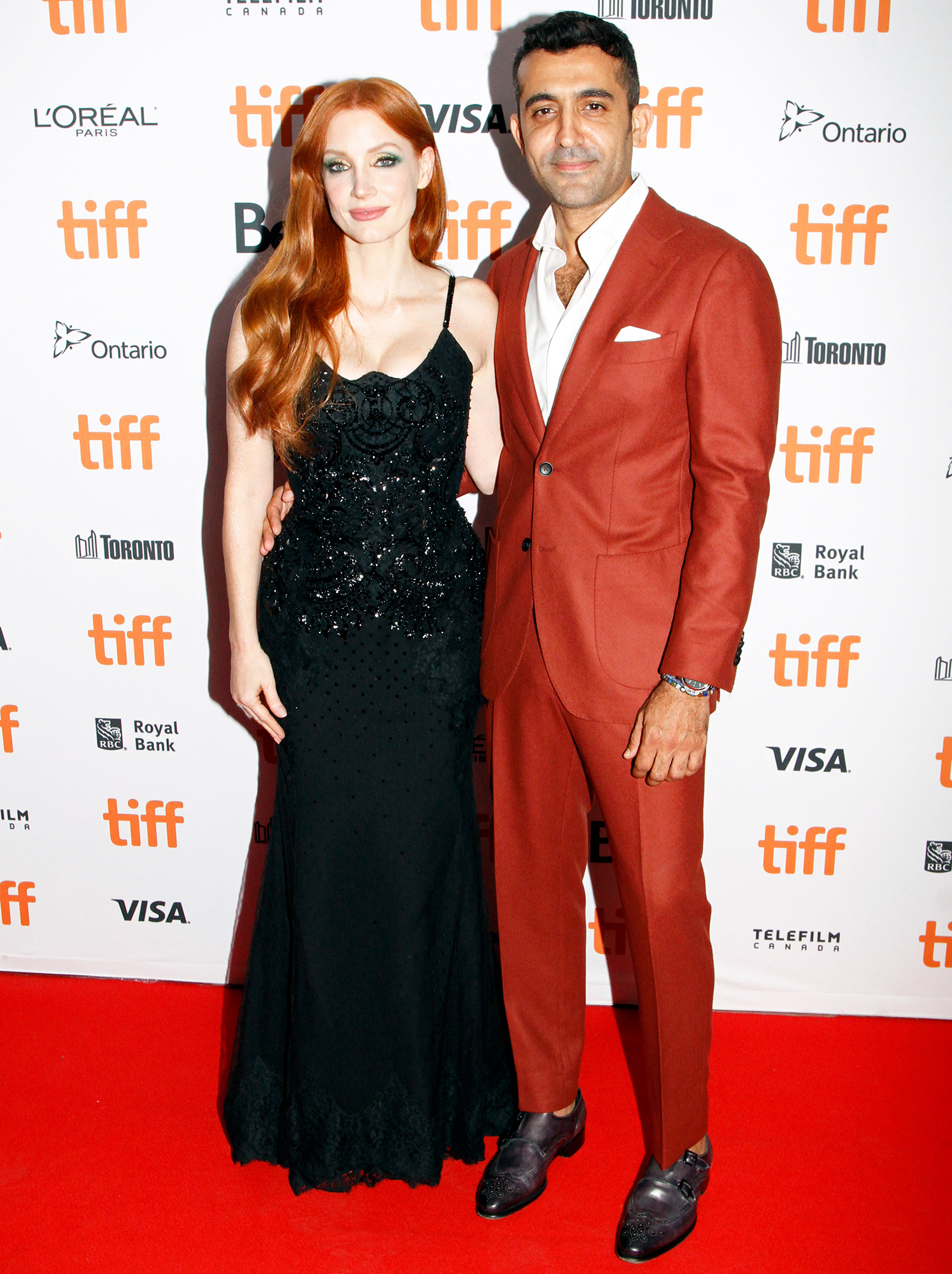 """Jessica Chastain and Mourad Zaoui attend """"The Forgiven"""" Premiere during the 2021 Toronto International Film Festival at Roy Thomson Hall on September 11, 2021 in Toronto, Ontario."""