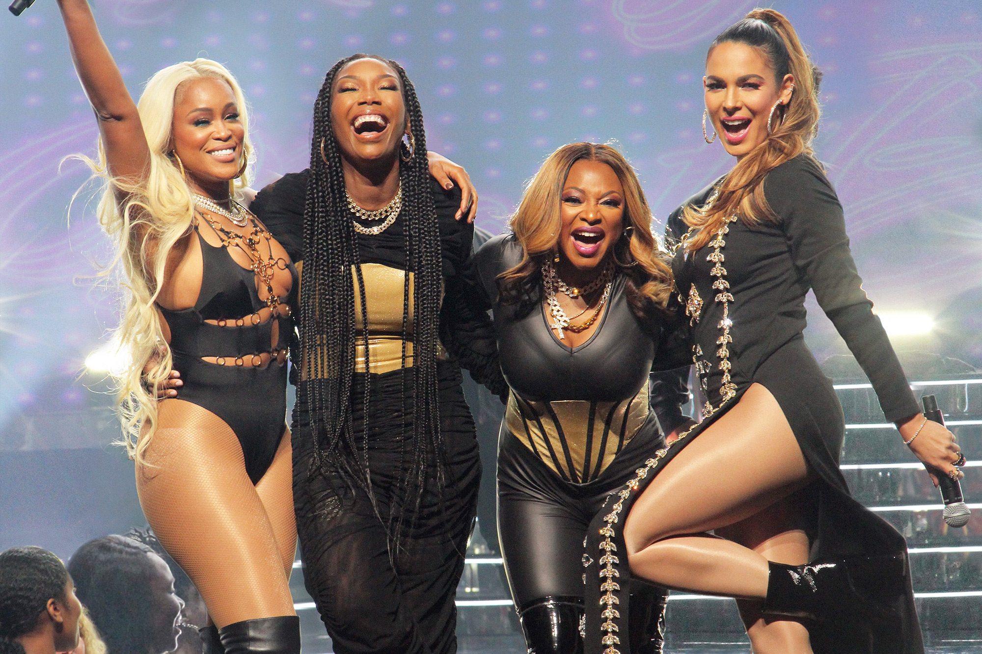 """QUEENS – """"Pilot"""" – Estranged and out of touch, four women in their 40s reunite for a chance to recapture their fame and regain the swagger they had as the Nasty Bitches-their '90s group that made them legends in the hip-hop world. Left to right EVE, BRANDY, NATURI NAUGHTON, NADINE VELAZQUEZ"""