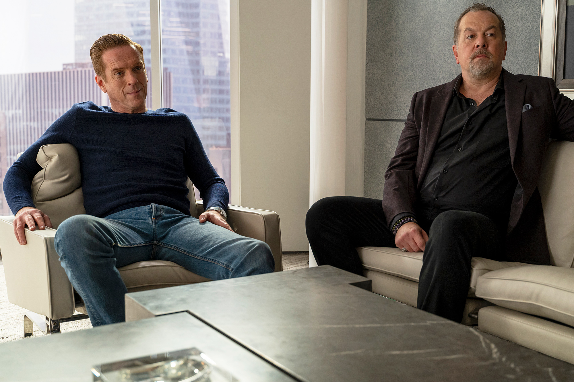"""(L-R): Damian Lewis as Bobby """"Axe"""" Axelrod and David Costabile as Mike """"Wags"""" Wagner in BILLIONS """"Implosion""""."""